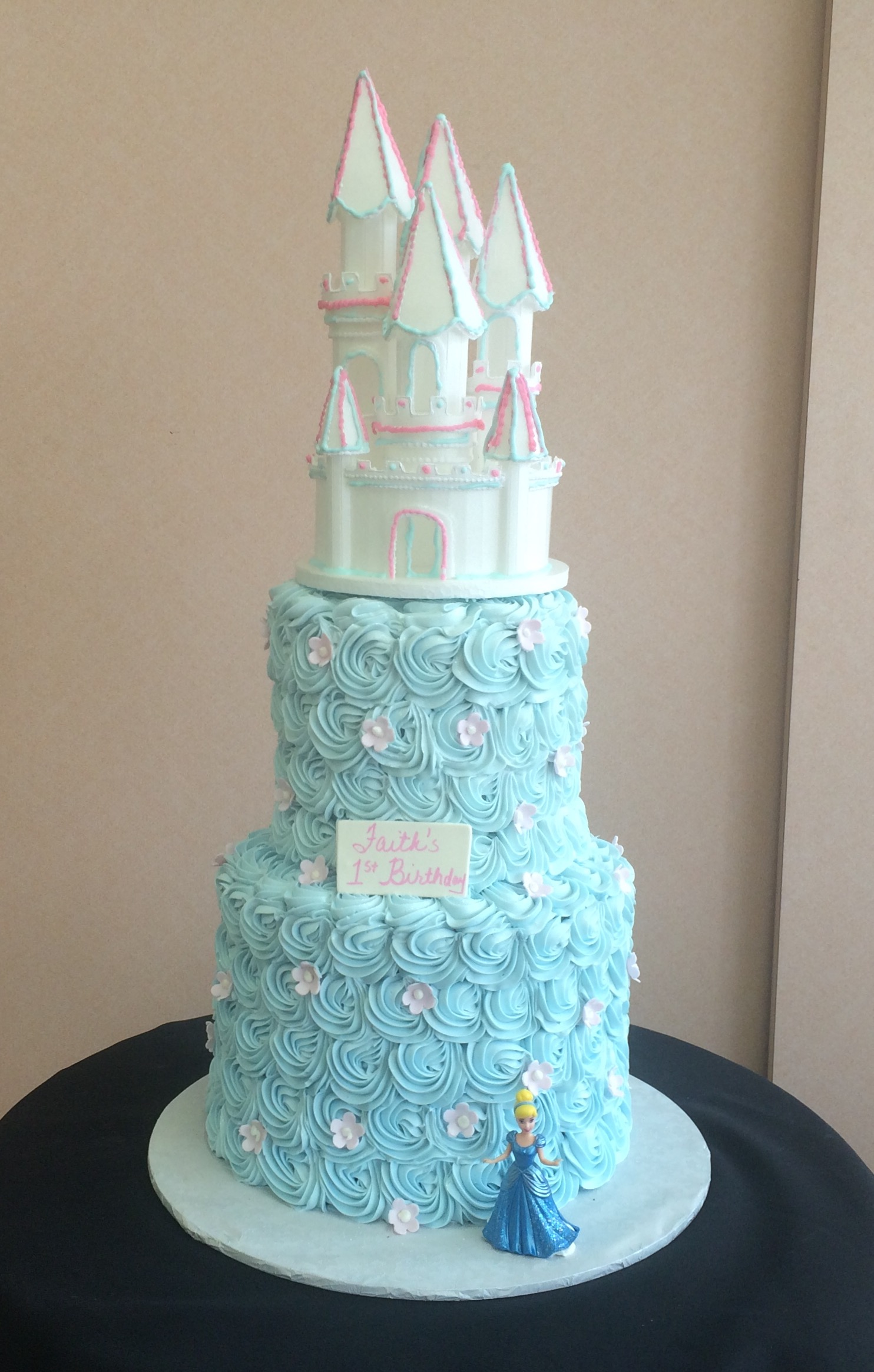 4 Tier Blue Rosettes with Castle.jpg