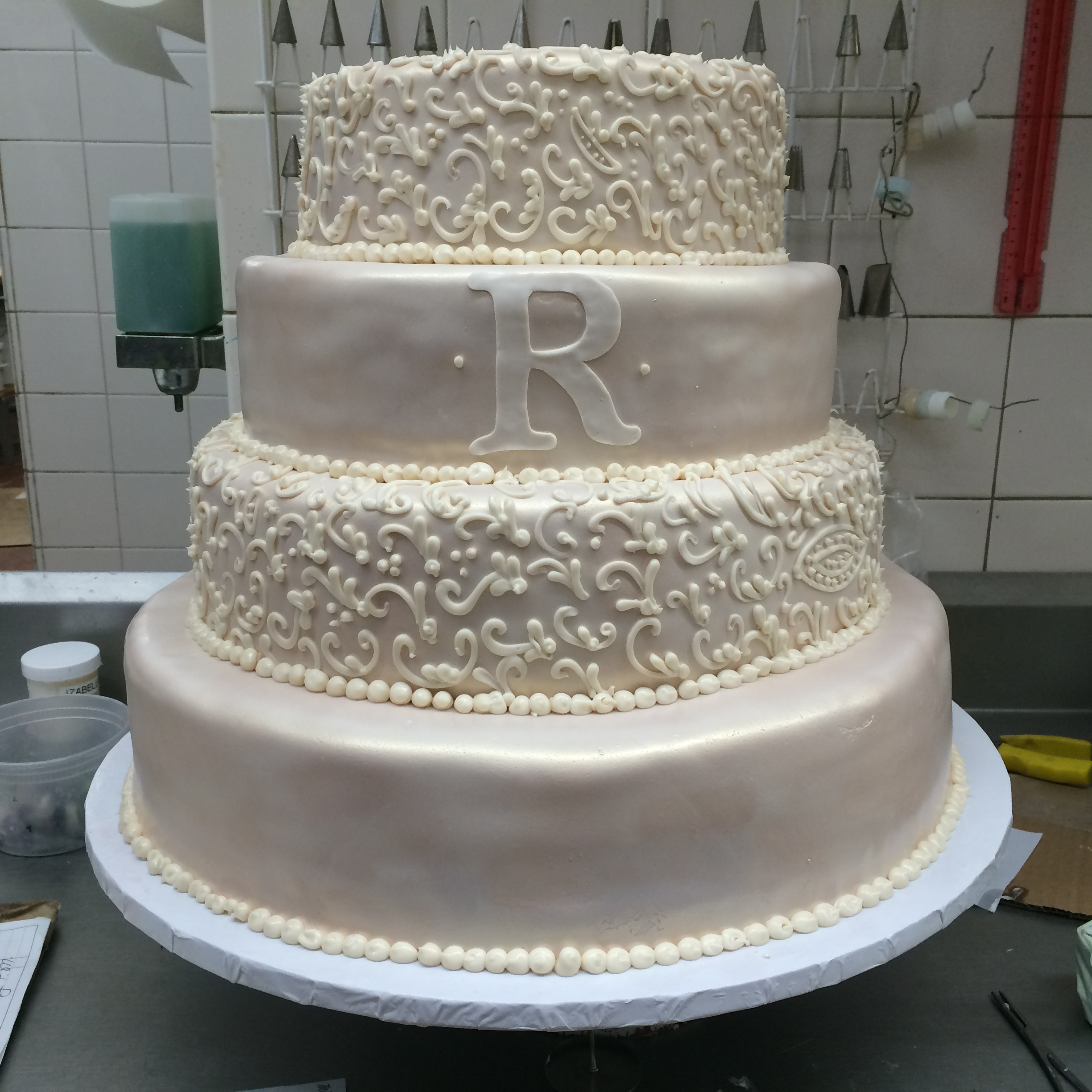 Ivory Rolled Fondant Pearlized with Antique Silk, Plain. Matte Small Scrolls. Monogram.jpg