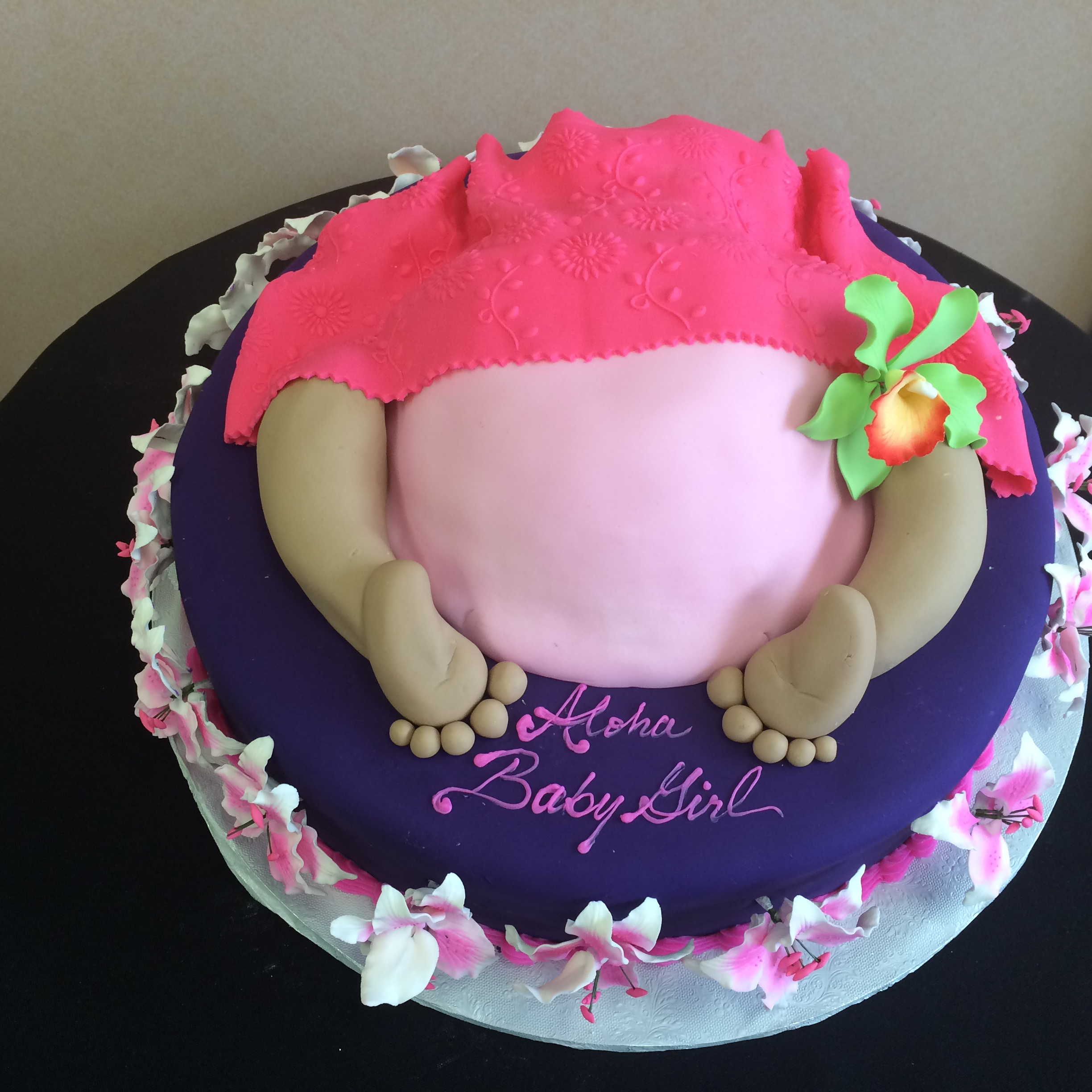 Baby Bottom Cake. Purple Rolled Fondant with Flowers.jpg