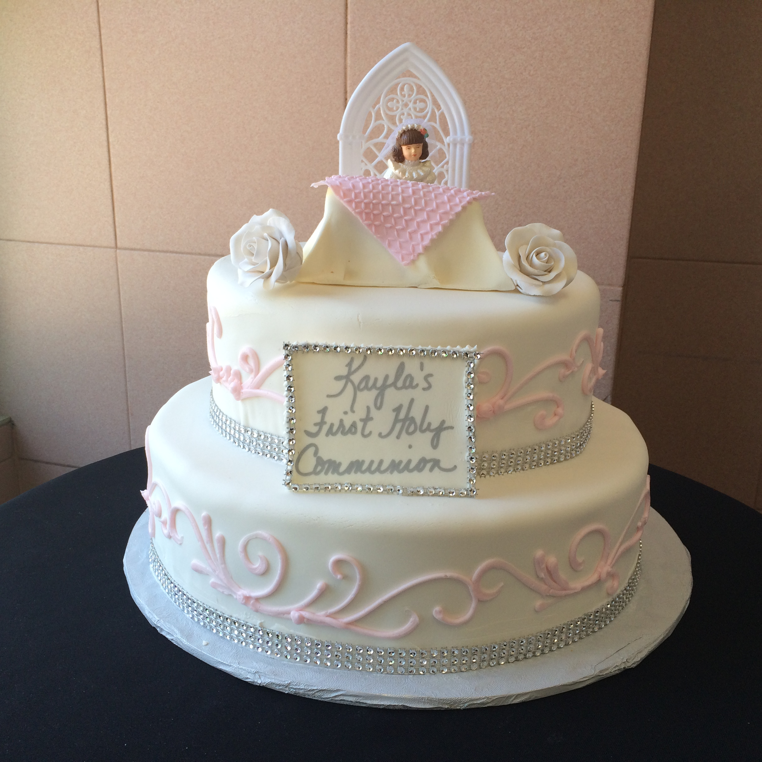 Rolled Fondant with Faux Crystals. Pink Scroll Work. Altar & Roses.jpeg
