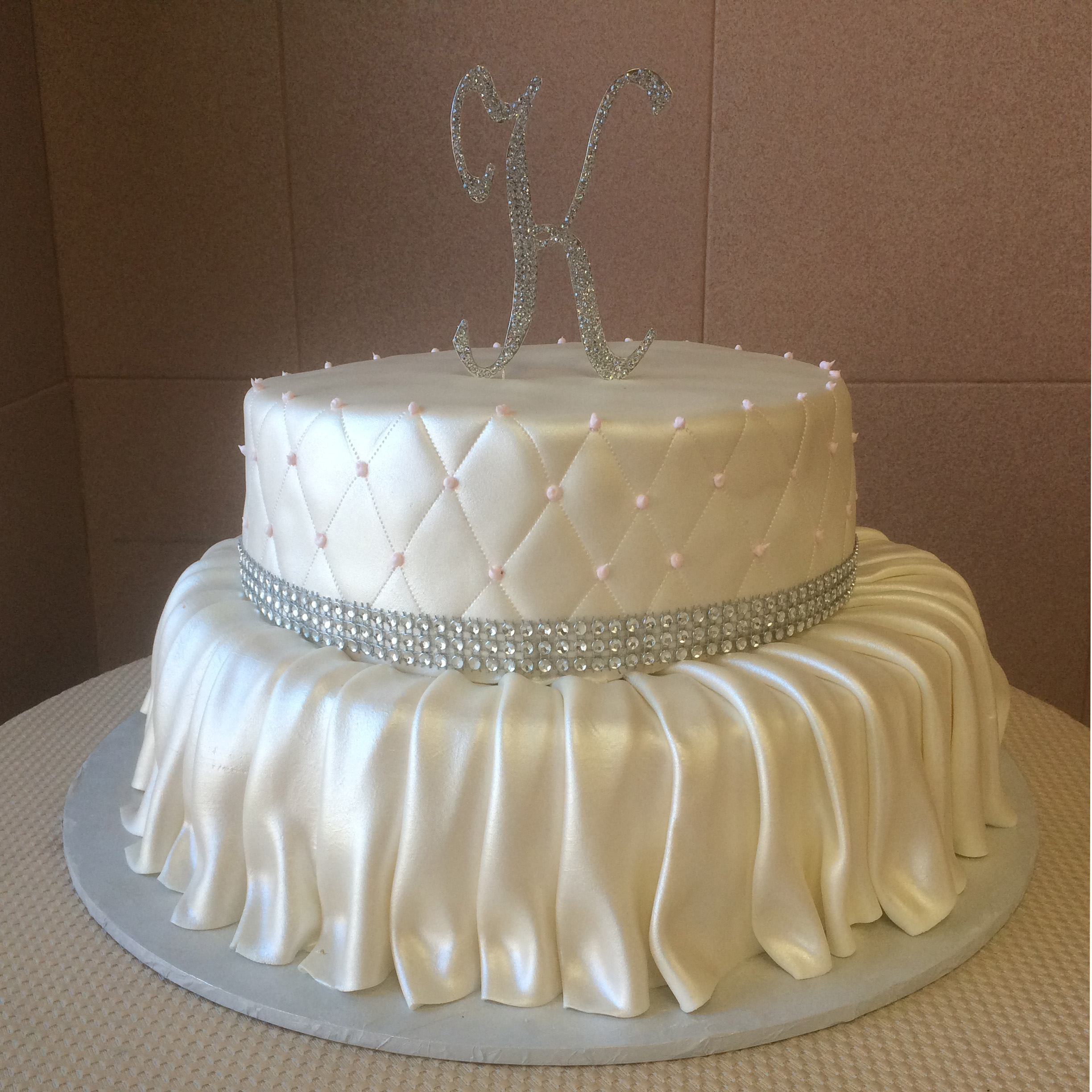 Rolled Fondant Skirted Quilted & Pearlized with Faux Crystals.jpg