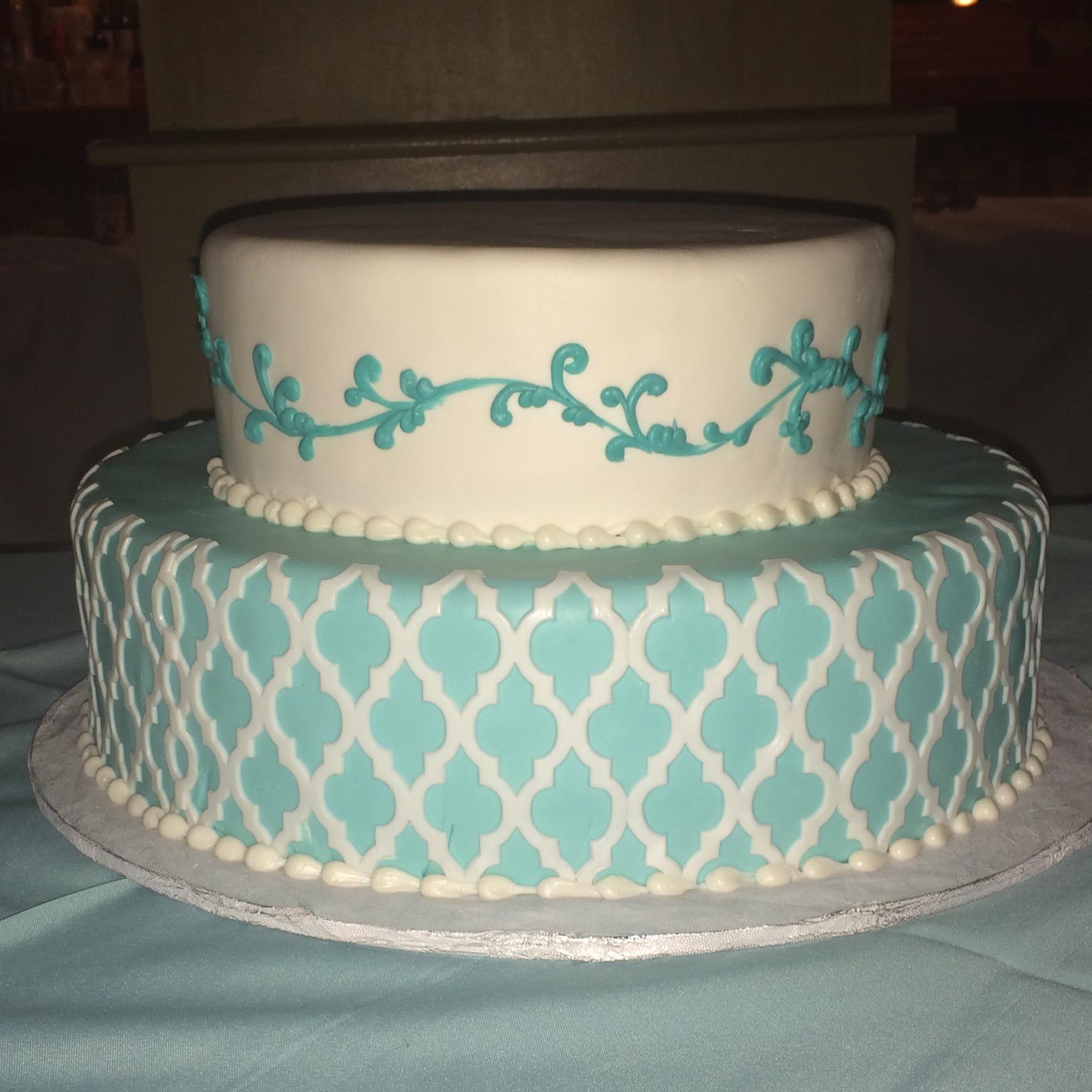 Tiffany Blue rolled fondant white Morrocan overlay. White Rolled Fondant Tiffany scroll work.jpg