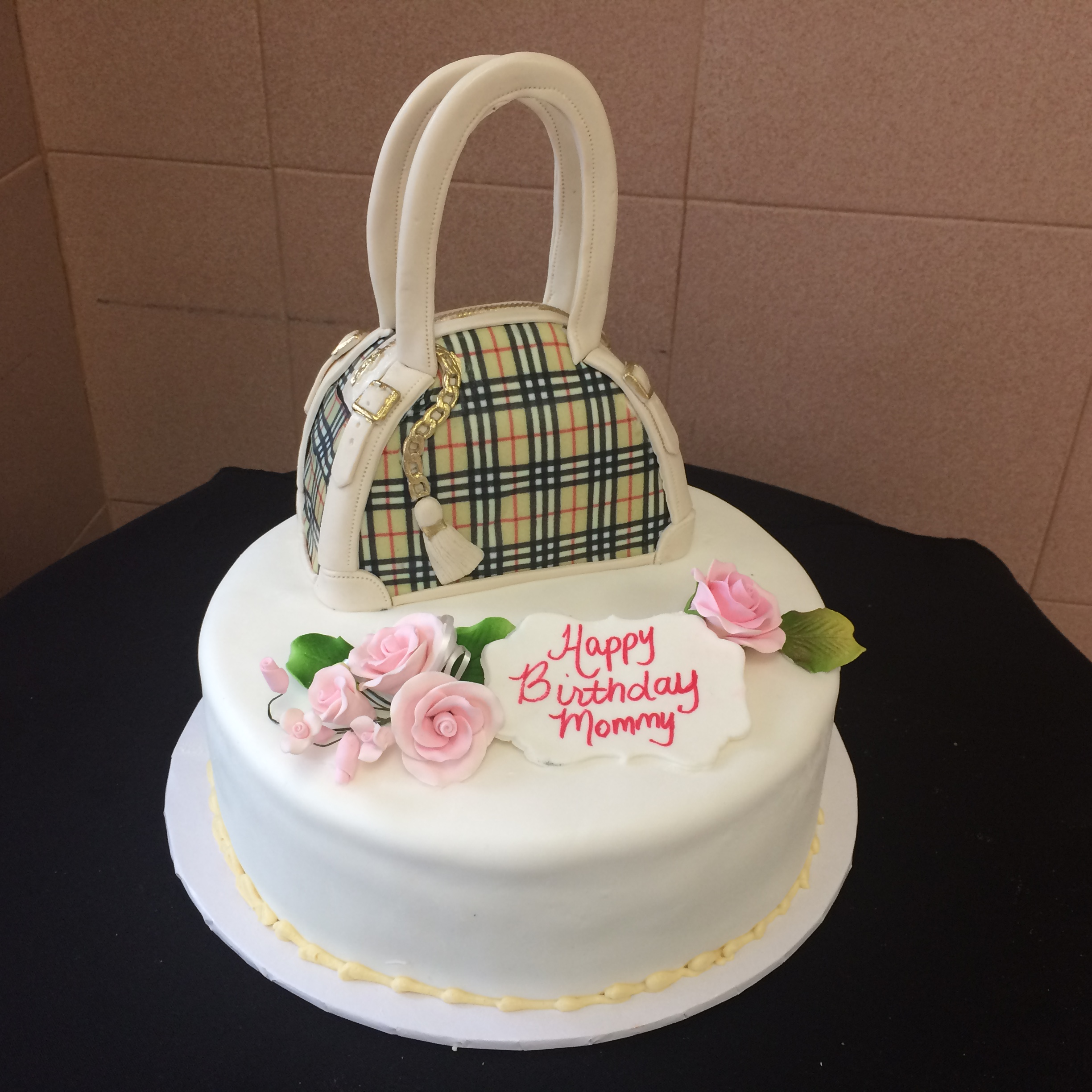 White Rolled Fondant with Roses. Burberry Bag (Unfilled).jpg
