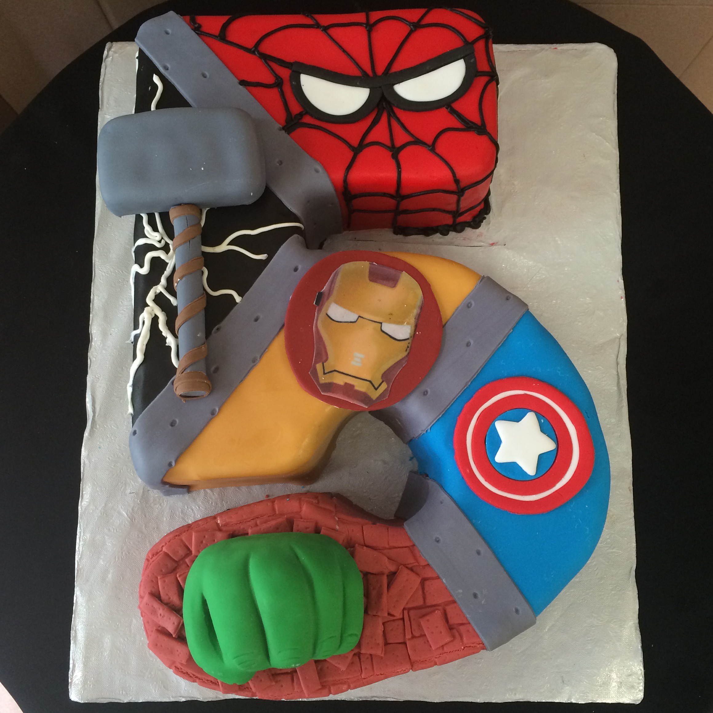 Avengers Themed number shaped cake.jpg