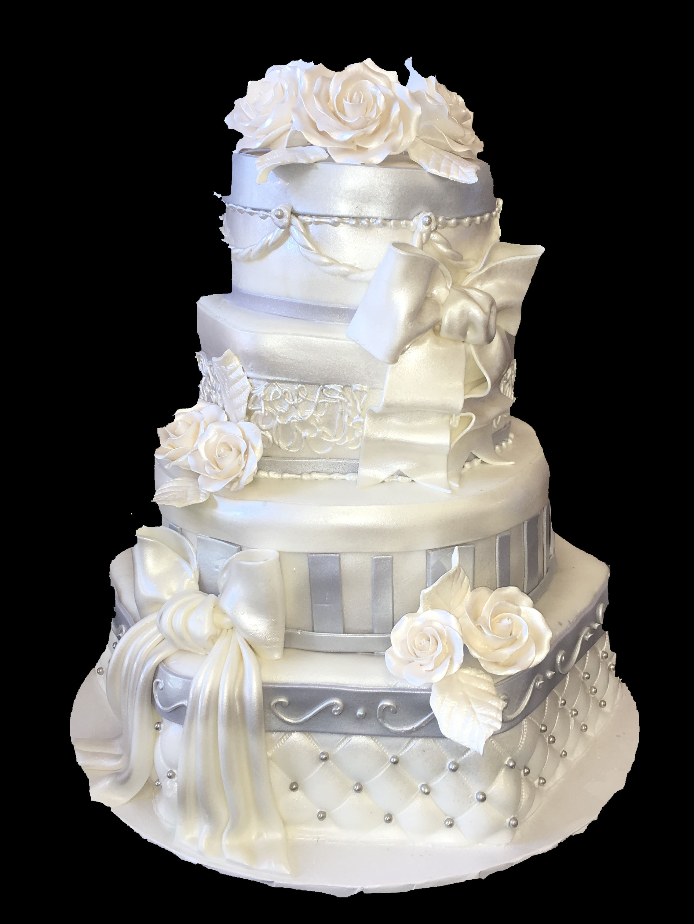 Hexagon. Quilted. Stripes. 2 Tone Fondant. Bow. Roping. Pearlized. Gum Paste Flowers.jpg