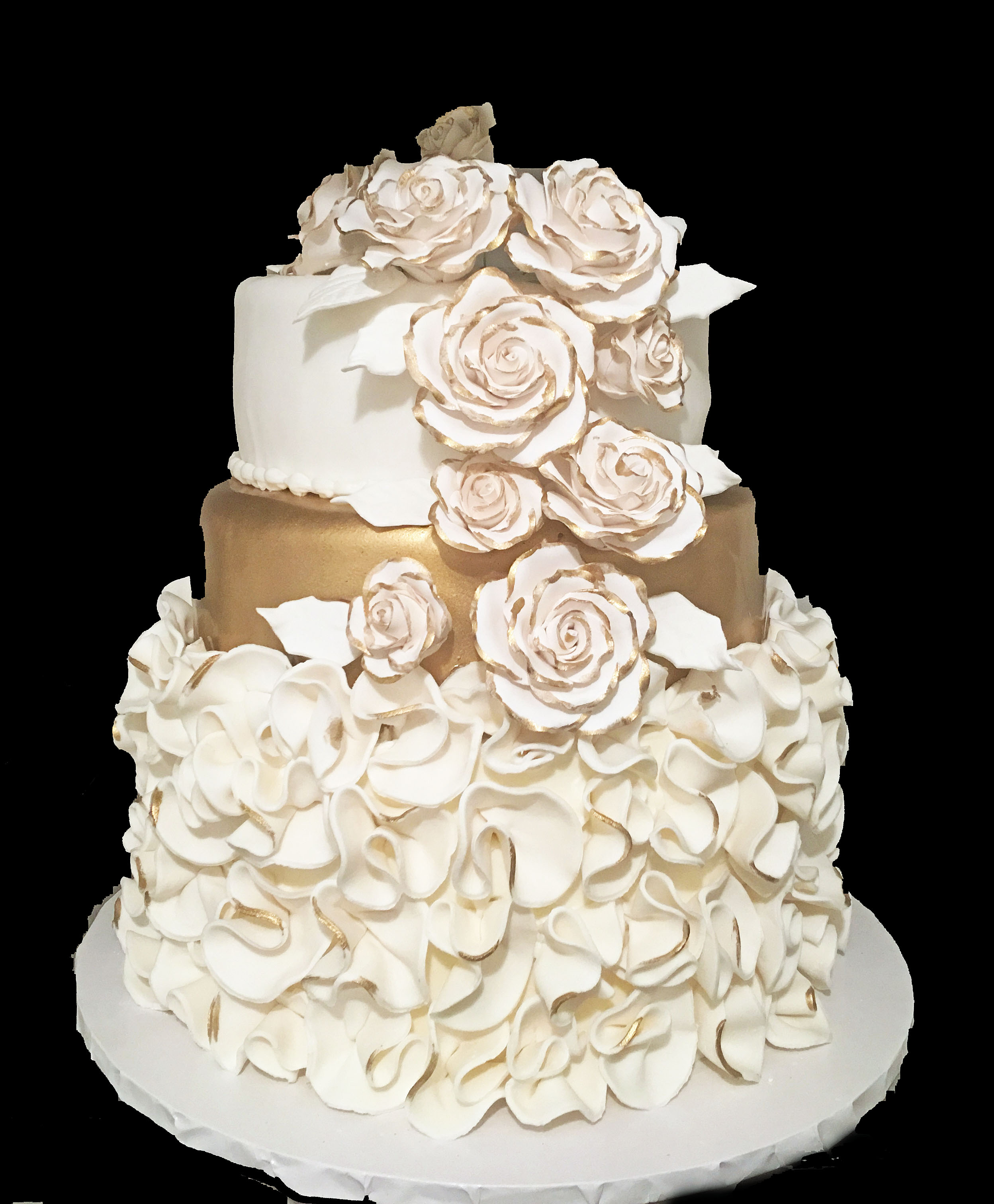 Rolled Fondant Scrunchies edged in Gold. Ribboned Rolled Fondant. Peonies Edged in Gold.jpg