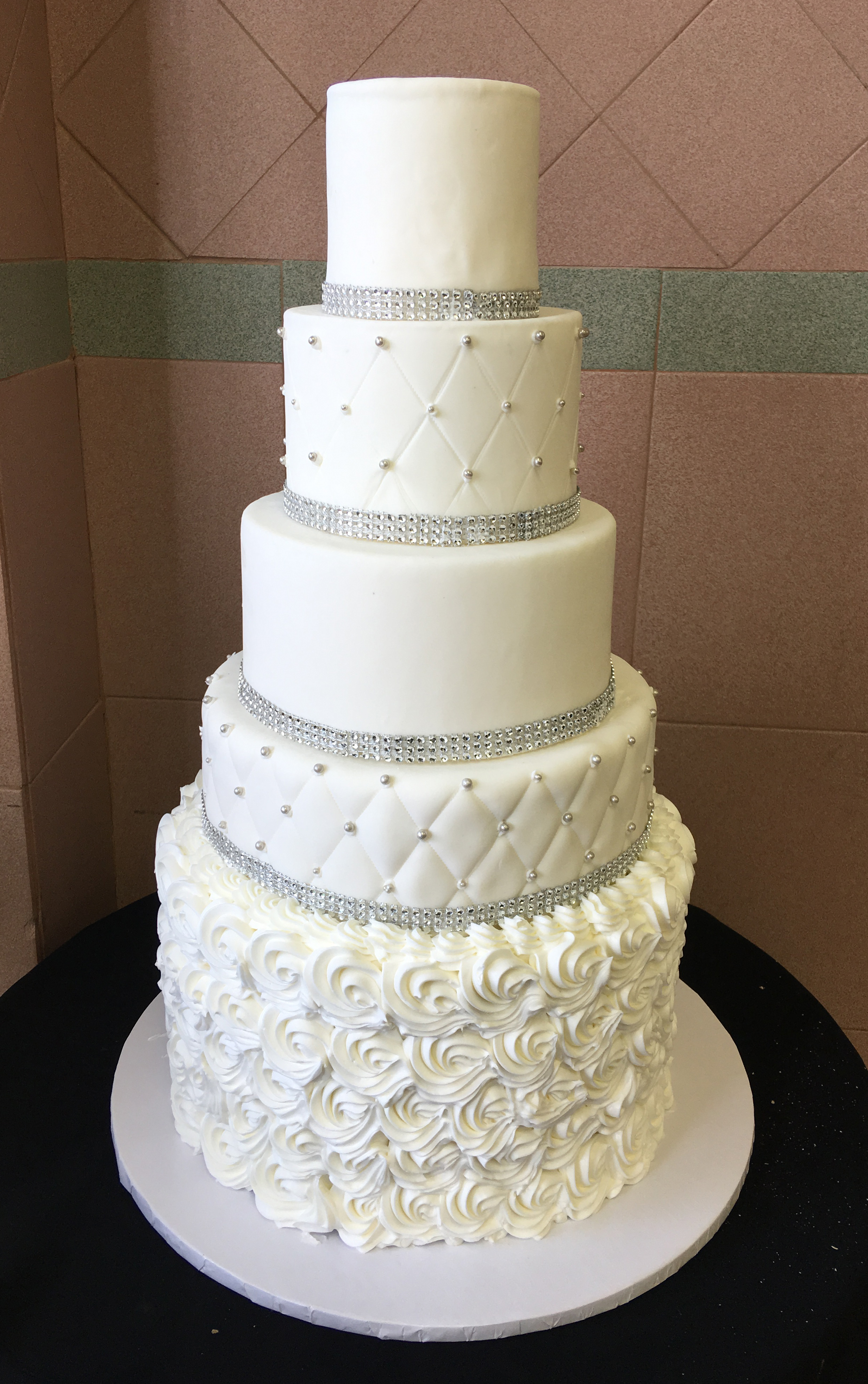 Large Rosette With Rolled Fondant Quilted & Faux Crystals.jpg