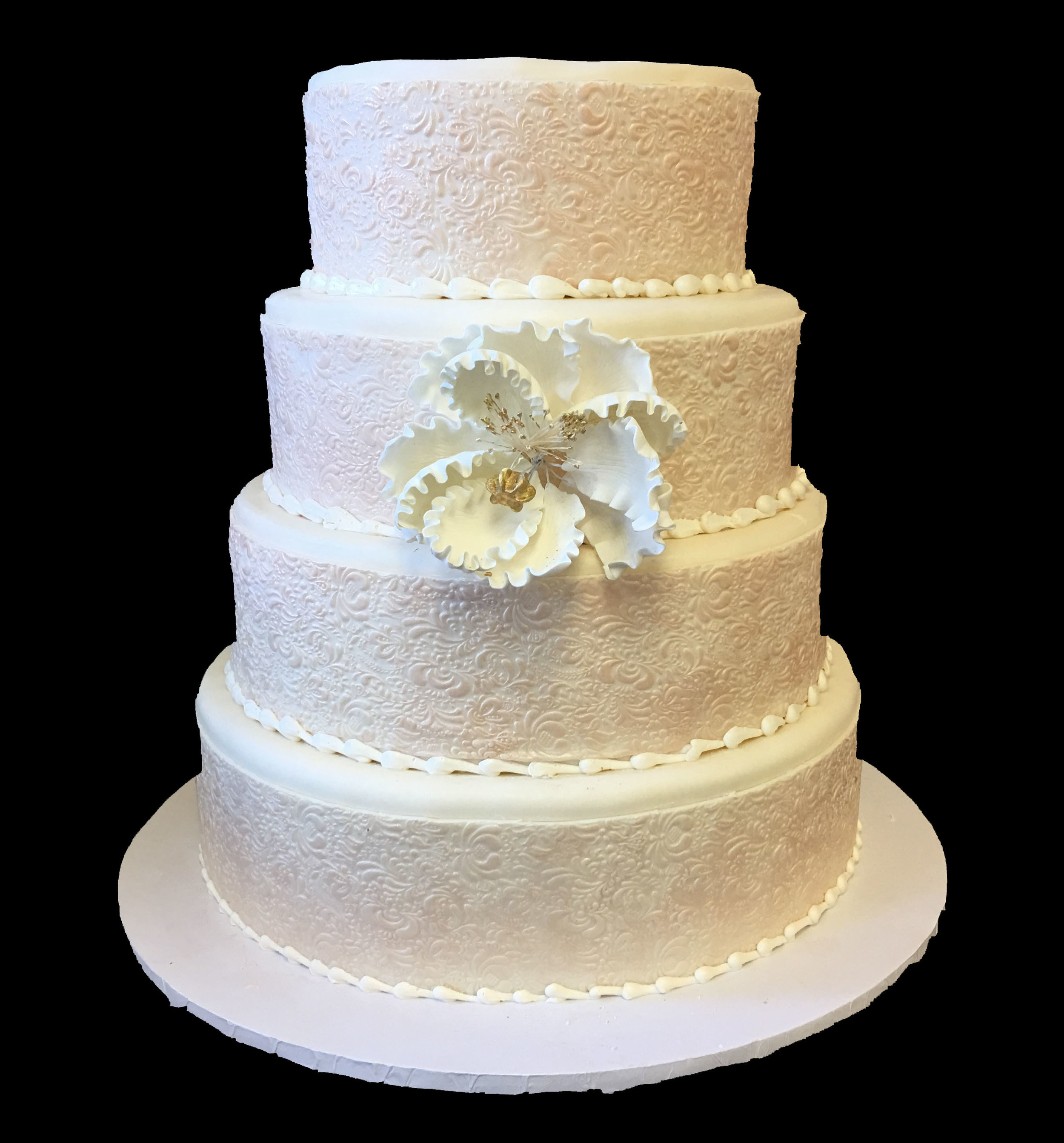 Rolled Fondant Embossed wide Banding. Pearlized with Single Peony.jpg