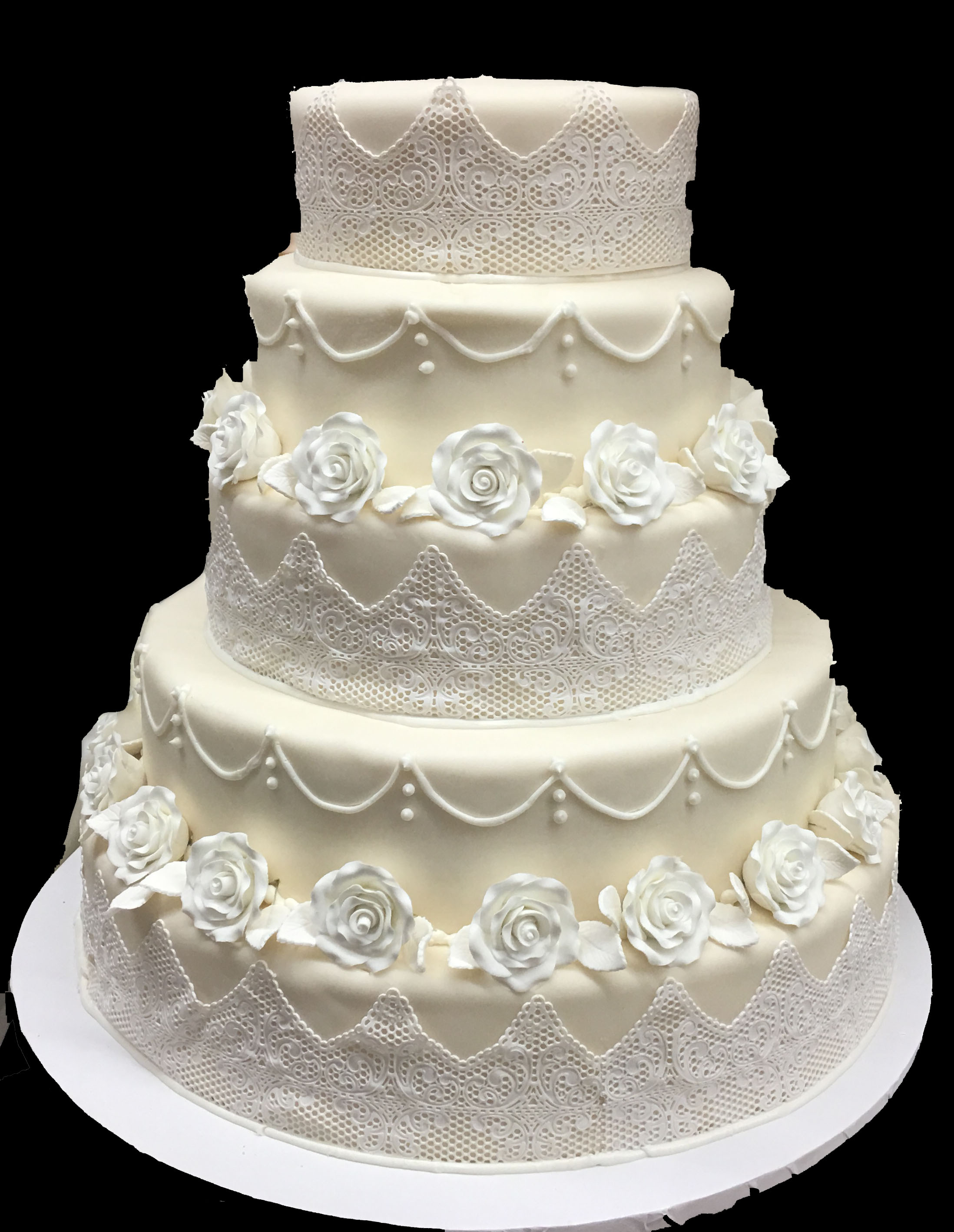 Ivory Rolled Fondant with Sugar Lace. Gum Paste Flowers.jpg