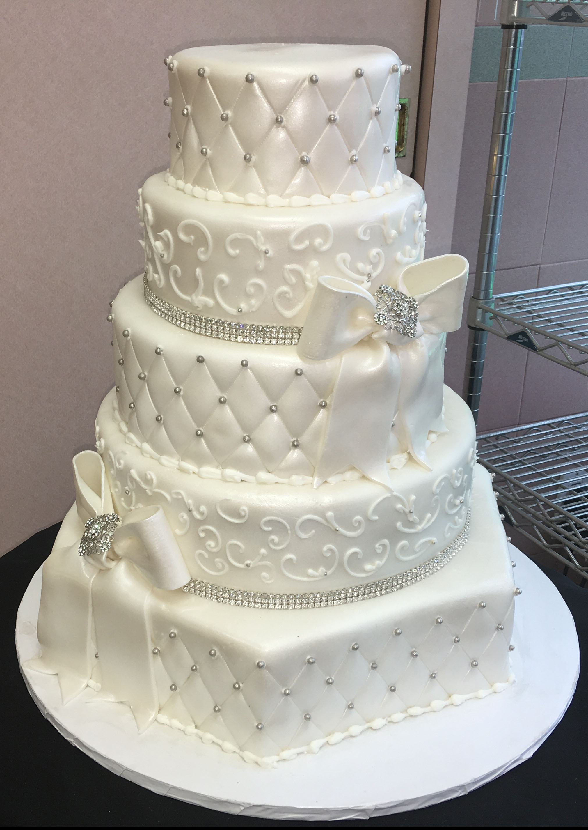 Rolled Fondant. Hexagon. Quilted. Bow with Brooch and Bow. Swarovski Crystals.jpg