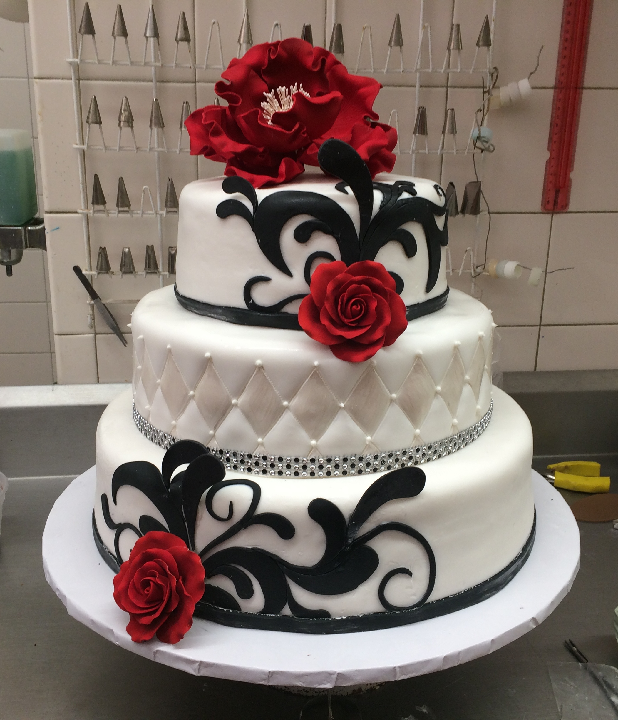 White Rolled Fondant with Black 3D Fondant Cut-Outs. Quilted & Pearlized. Faux Crystals. Gum Paste Flowers.jpg