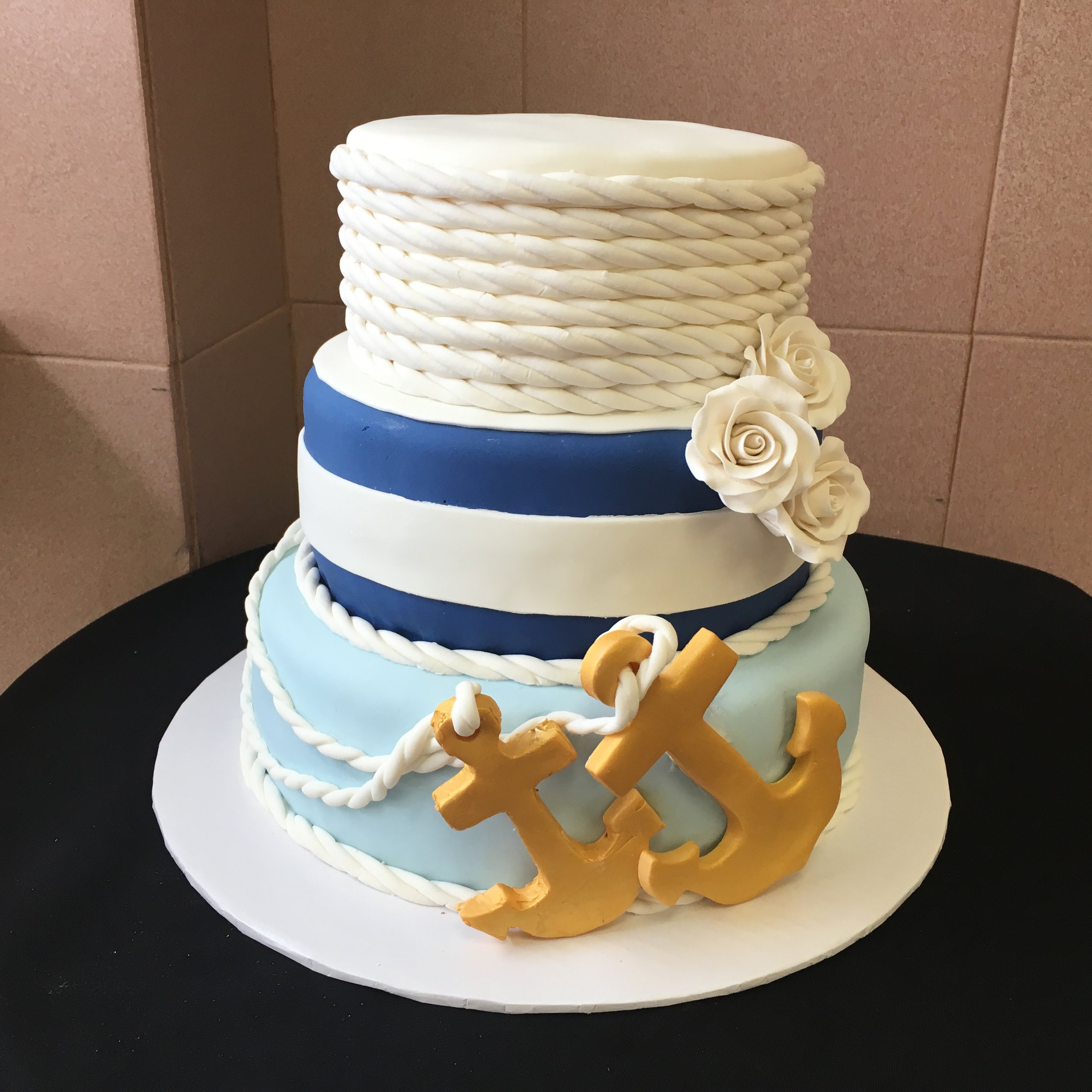 Nautical theme with Roped Fondant, Ribbon & Anchors.jpg