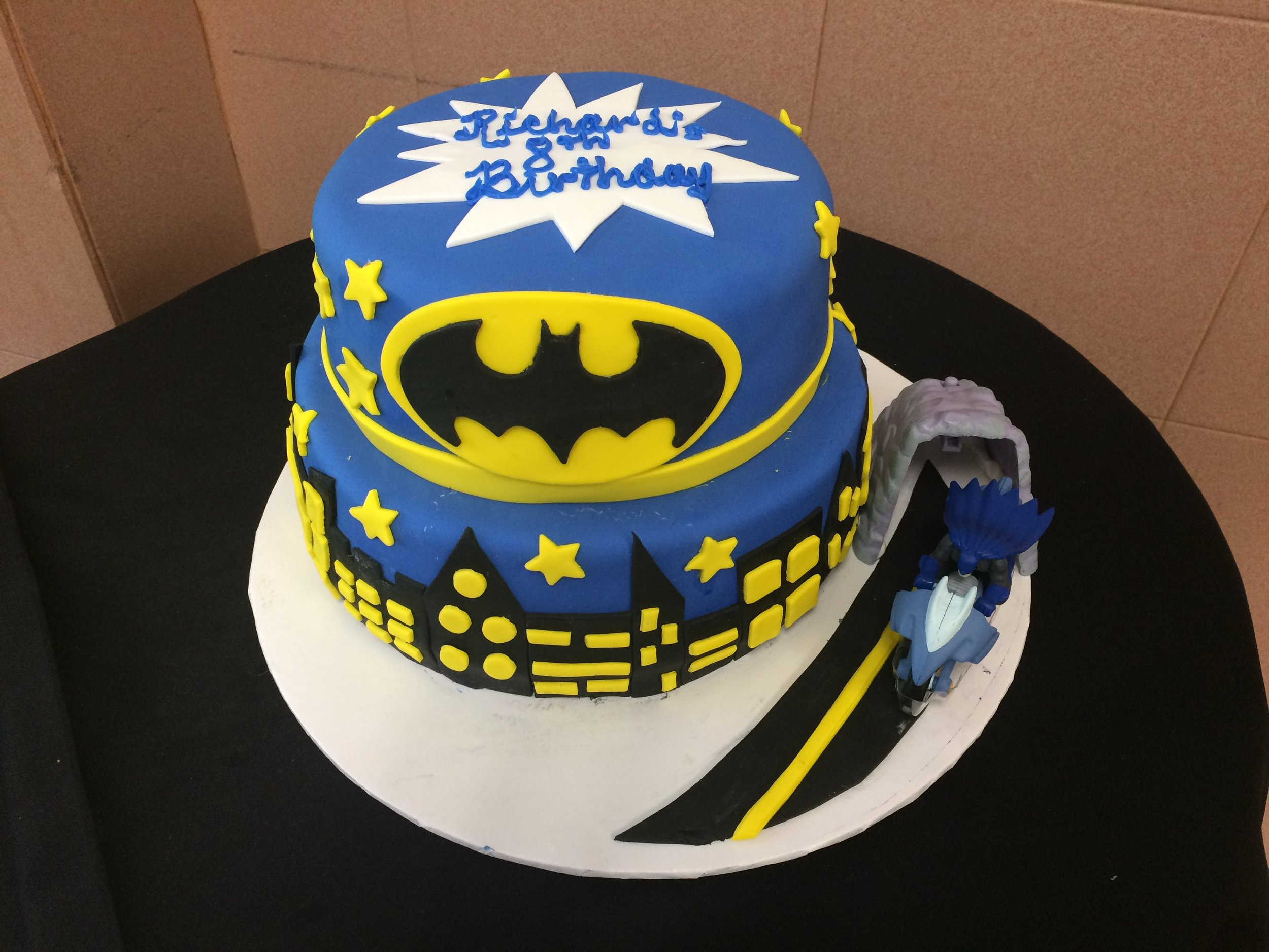 Batman 2 tier. Rolled Fondant. City Scape. Stars Logo. Kit.jpg