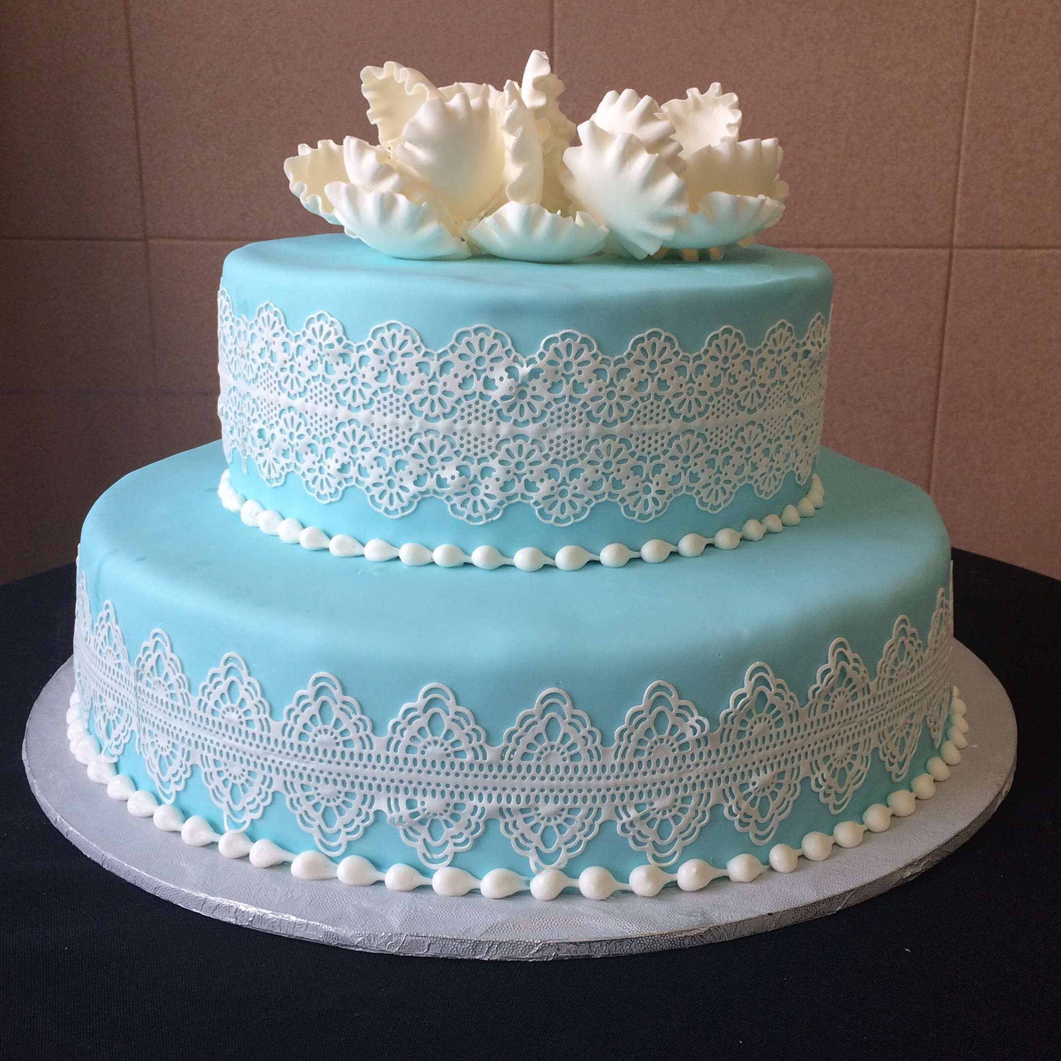 Medium Blue Fondant with Sugar Lace & White Peony.jpg
