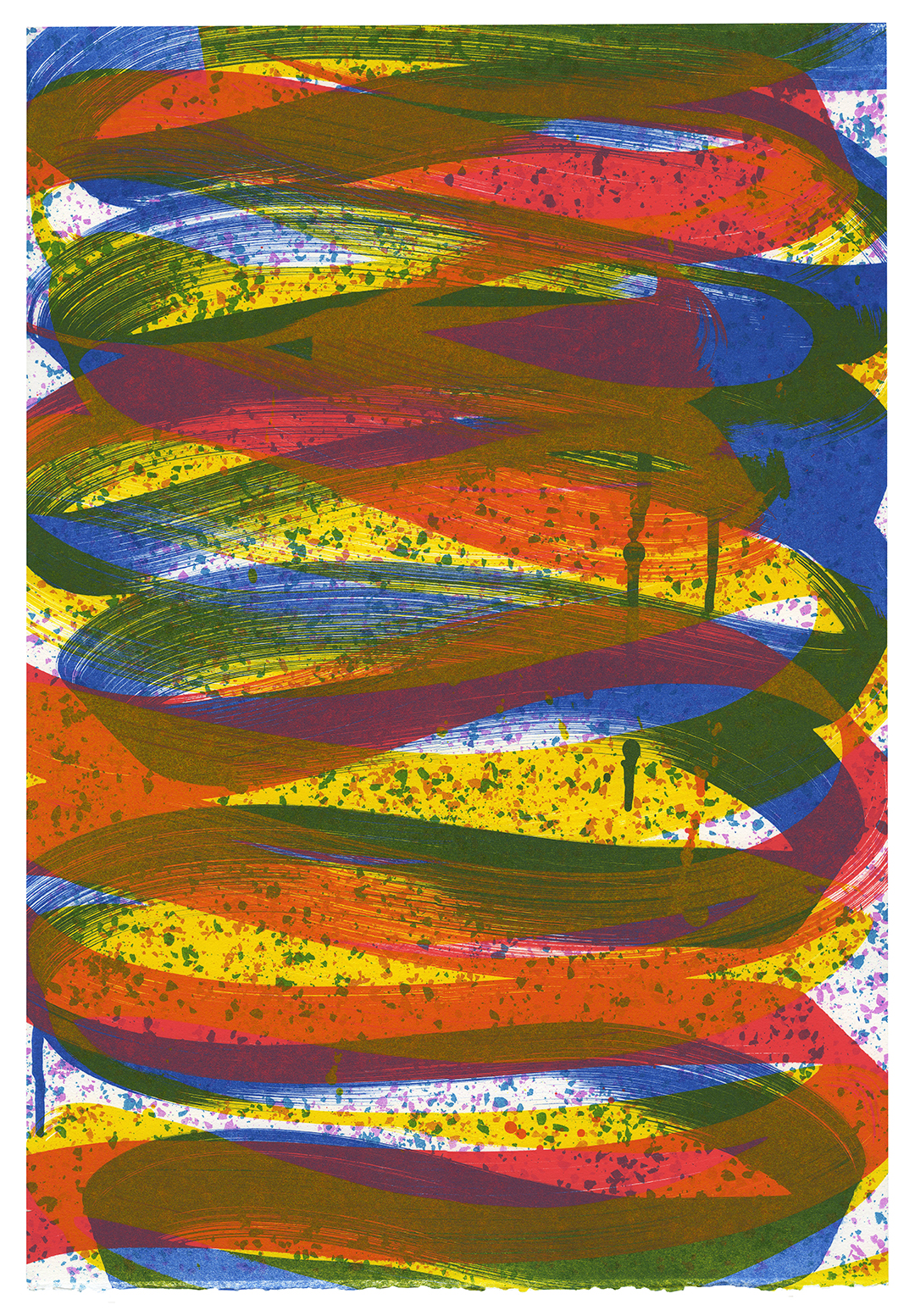Subway Showtime 7  monoprint 5-color lithograph from photo plates 22x15 inches (bleed print) white Rives BFK 2016 signed, titled and numbered on verso