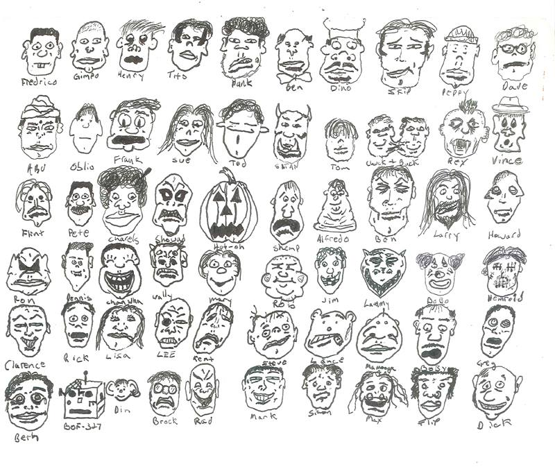 Faces of Blumpkin High - Class of 1997 (Drawing - Date Unknown)