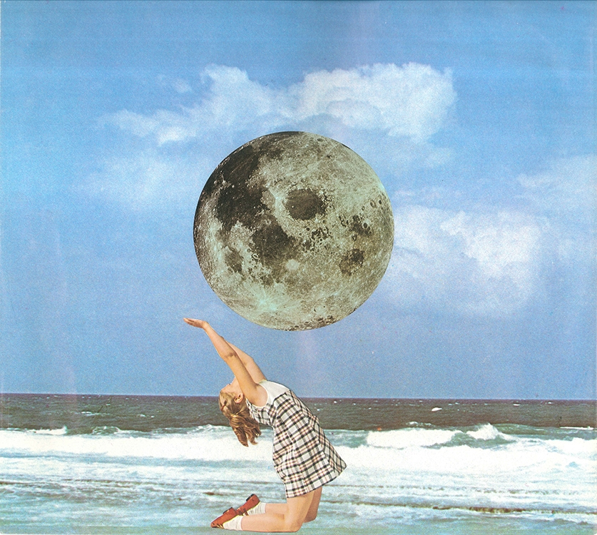 Little Luna at the Beach (Physical Collage - 2015)