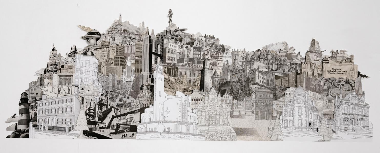 Dark Metropolis (analog collage - 23 x 56 inches)