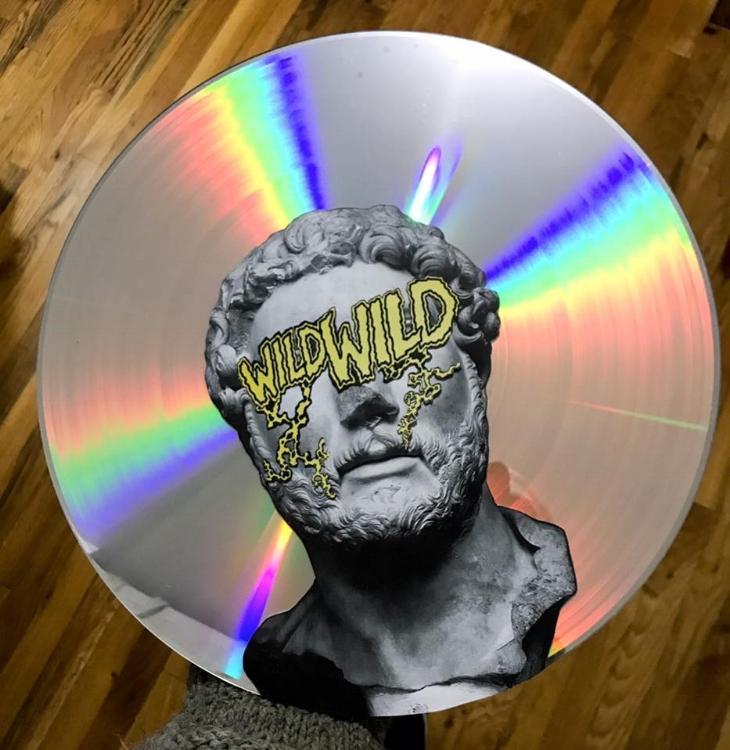 """Wild Wild Hadrian (Analog Collage on Laser Disk - 12"""" x 12"""" - 2018)"""
