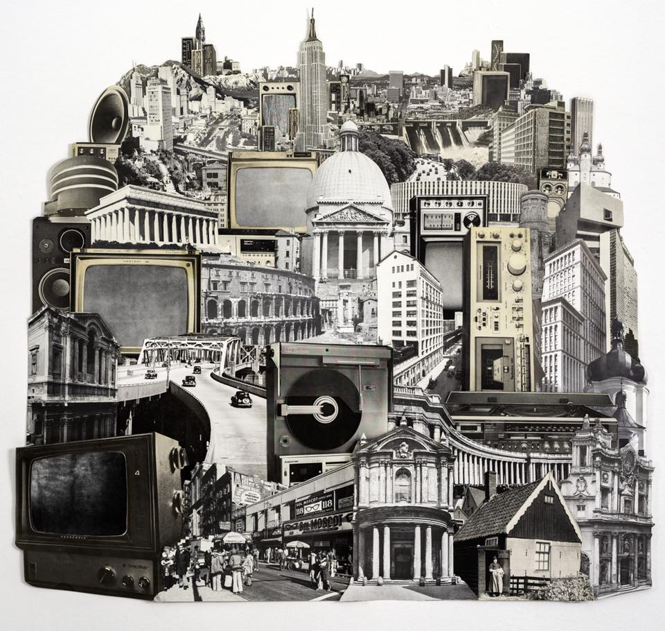 "Transmission City (Analog Collage - 24"" x 24"" - 2018)"