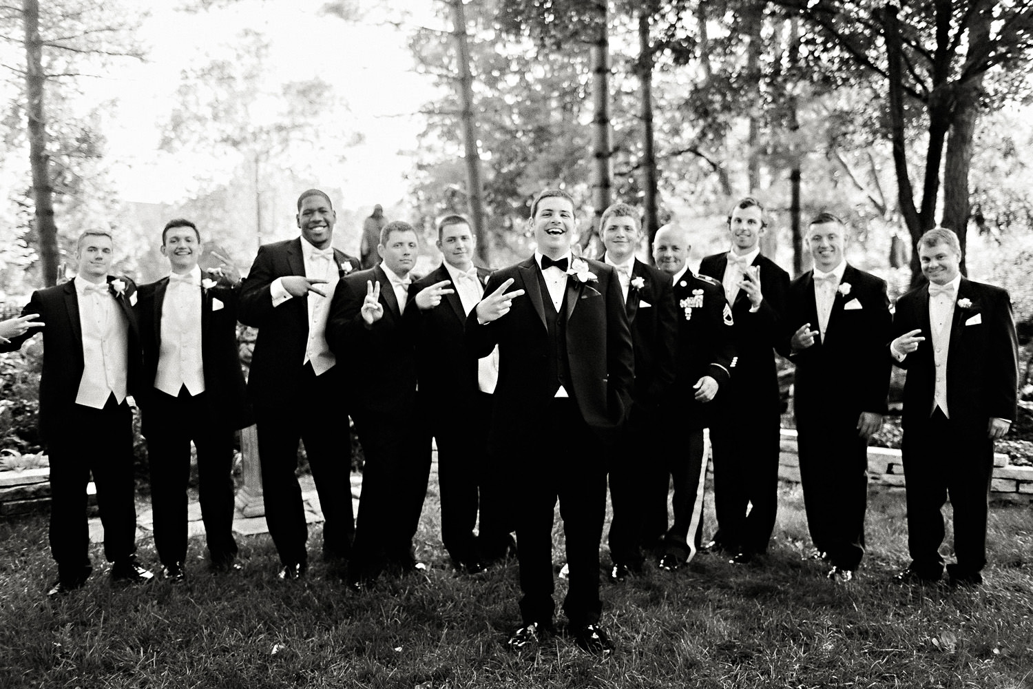 Groomsmen in black and white by Ryan Timm Photography