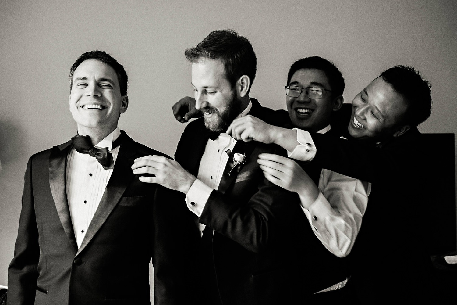 Groomsmen having fun during Chicago Getting Ready Photos