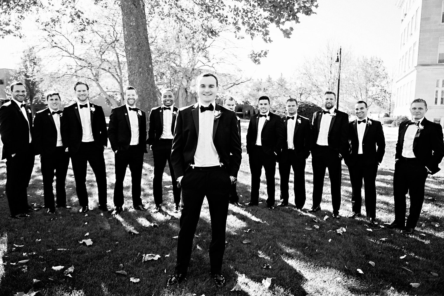 Groom and Groomsmen pose for a photo