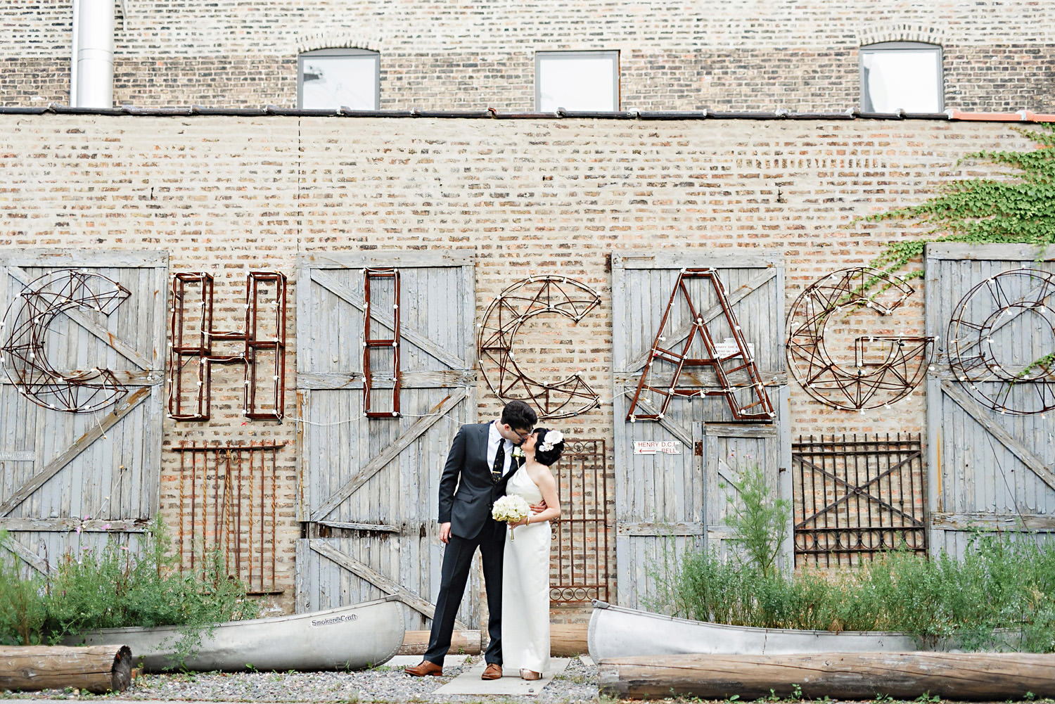 Bride and Groom Portrait at Salvage One