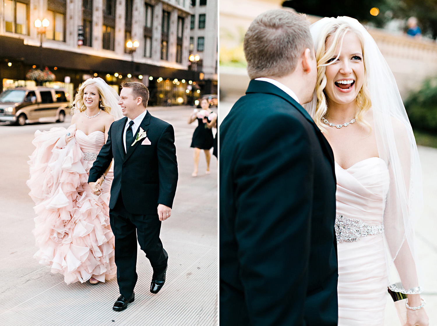 A bride and groom walk the streets of Chicago