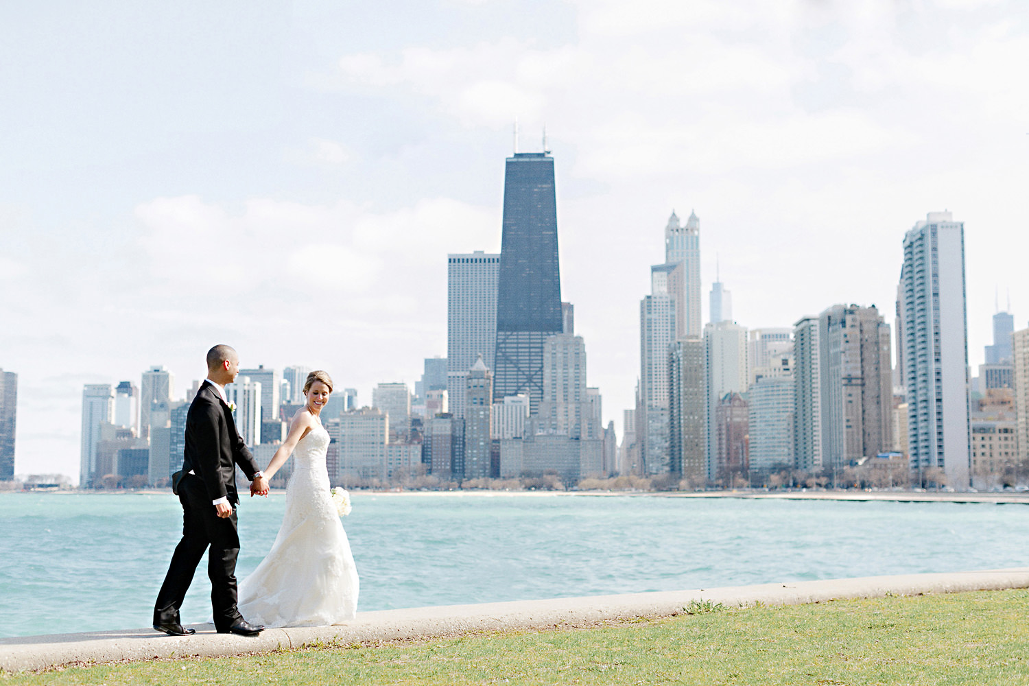 Bride and groom in front of Chicago Skyline