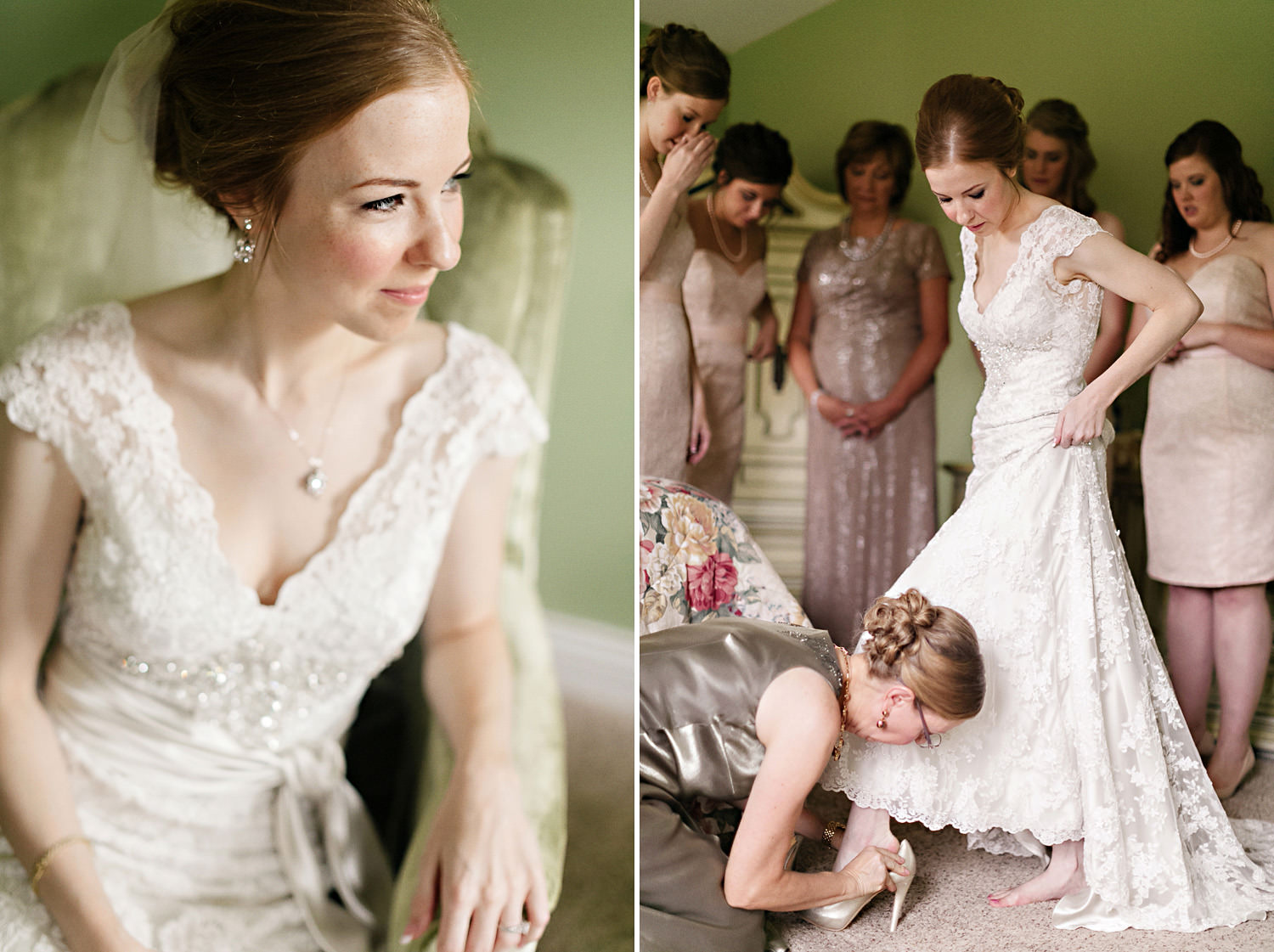 Bridesmaids help the bride with her wedding dress
