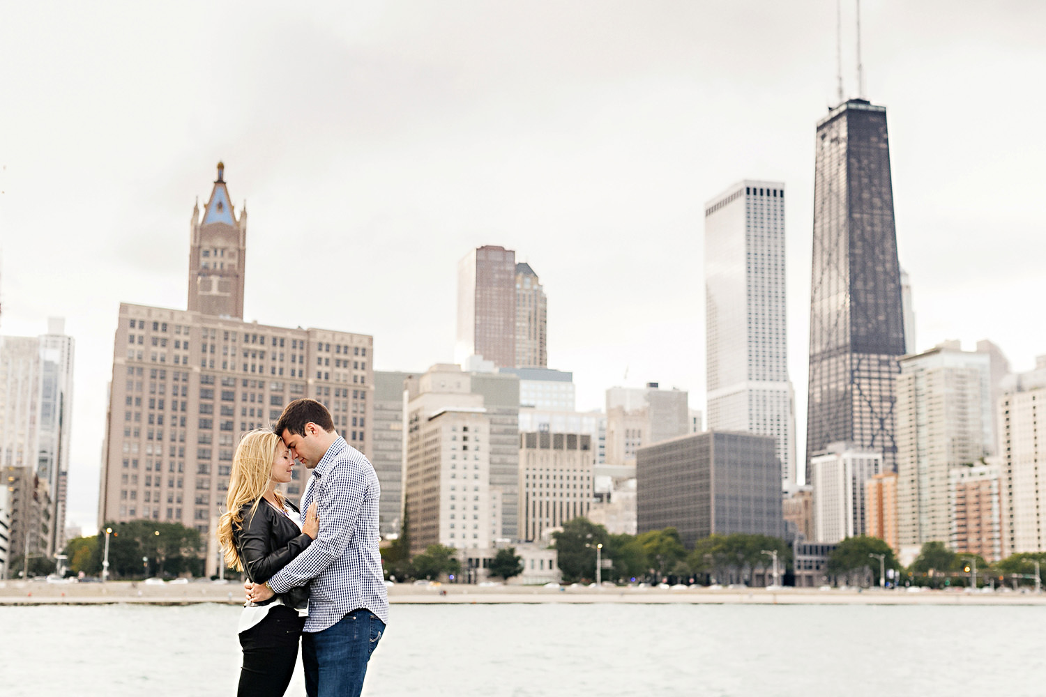 Engagement portrait in front of Chicago Skyline