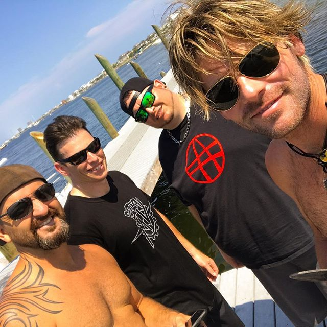 Good times on the water with this motley looking crew! #skurfing #pensacolabeach #destinflorida #ajs #boating #lookmorelikeacriminal #longreefmusic