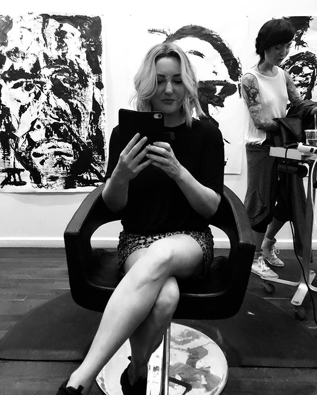 """Today was the day of the bob and a failed attempt at the """"duchess slant"""" 👸🏼 Hair by Alice who owns this awesome salon that has regular exhibits of local artists. Hence the name @exhibitsalon . . . #brooklynbob #hair #duchessslant #lob #exhibit #lovekevinmurphy #makeupartist #brooklyn #hairdid"""
