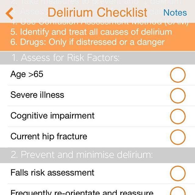 #Delirium can be very distressing for #patients & #carers. It can be challenging for #healthcare professionals too.  #PocketDr checklist approach will help #juniordoctors develop a plan  #tipsfornewdocs