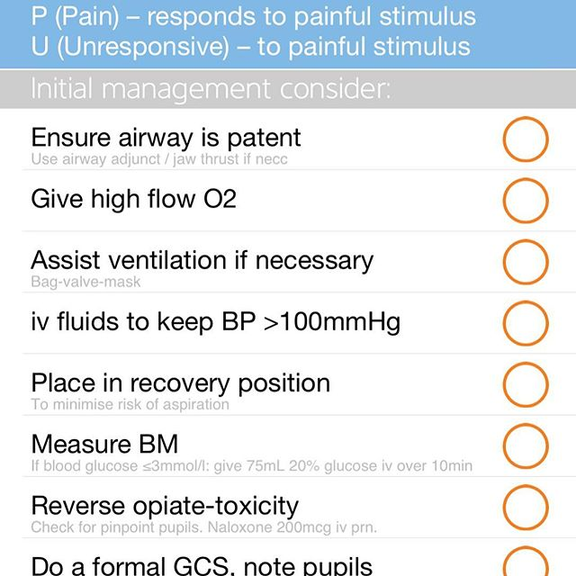 Reduced conscious level? Checklist for next steps #oncall #doctor
