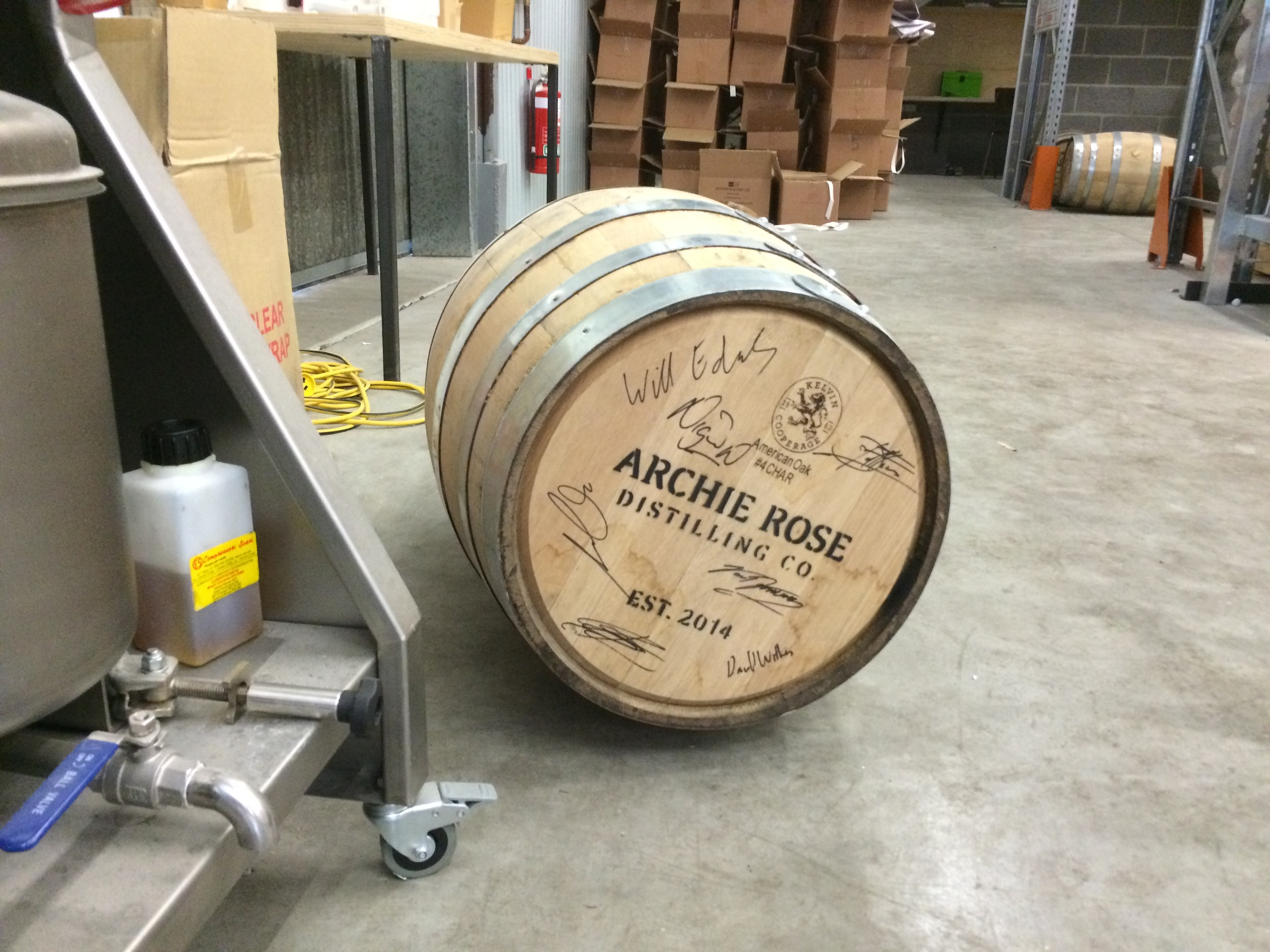 Barrel #1 as signed by the crew at Archie Rose, and no, it's not for sale.