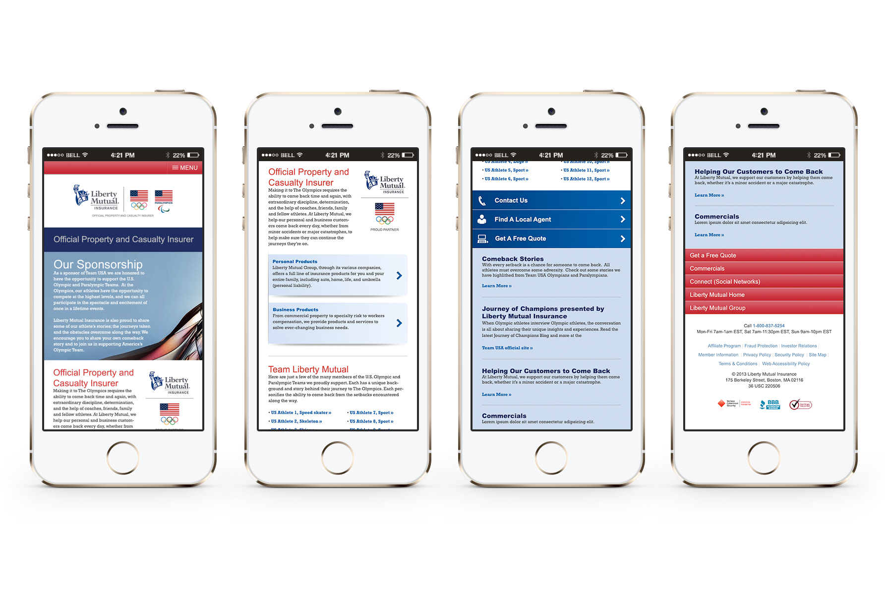 Liberty Mutual Team USA Sponsorship Mobile Webpage