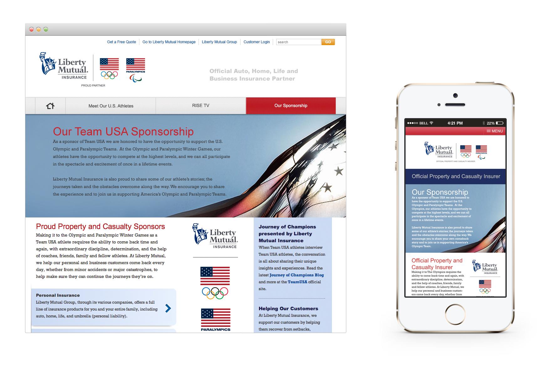 Liberty Mutual Team USA Sponsorship Webpage - Desktop & Mobile