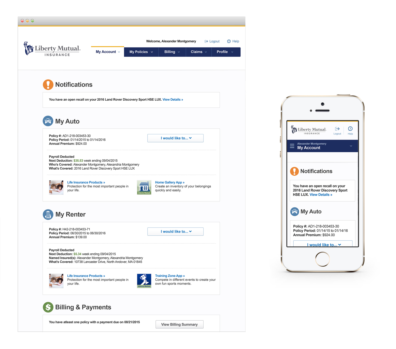 Liberty Mutual eService Redesign