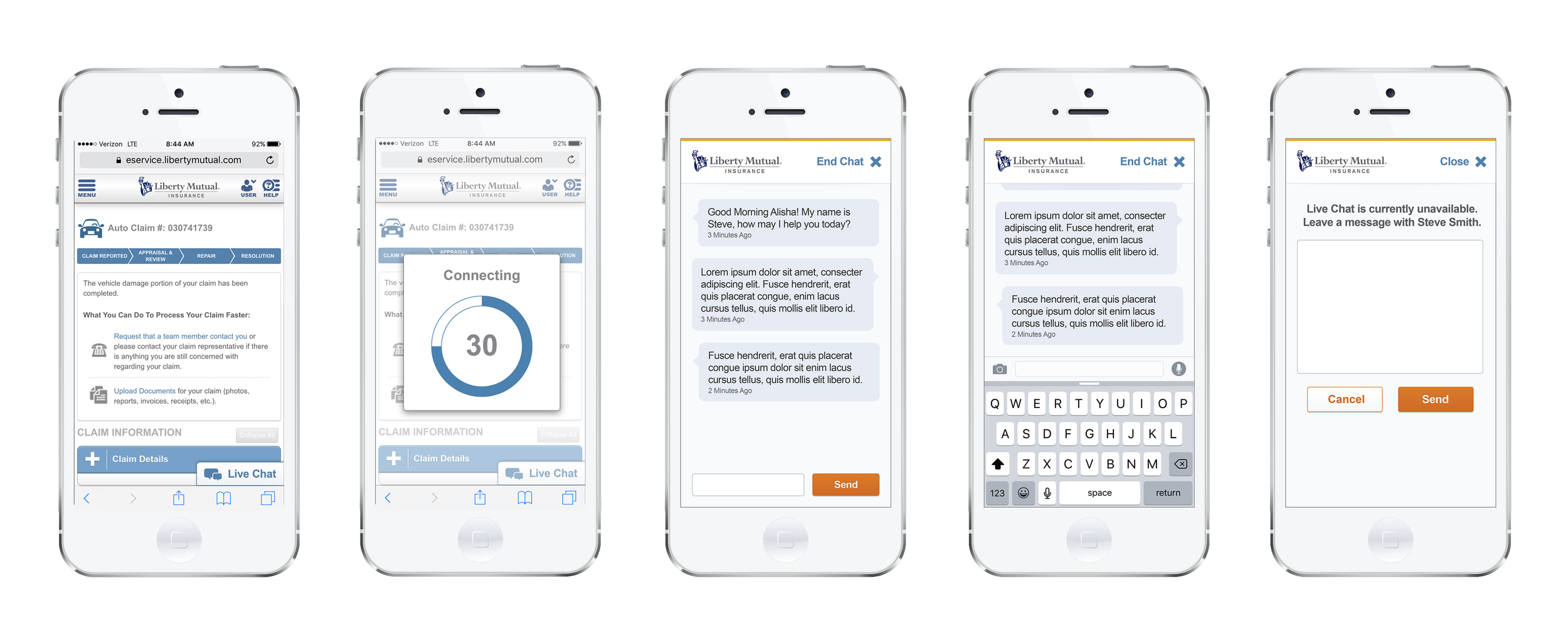 Liberty Mutual Claims Live Chat - Mobile Experience