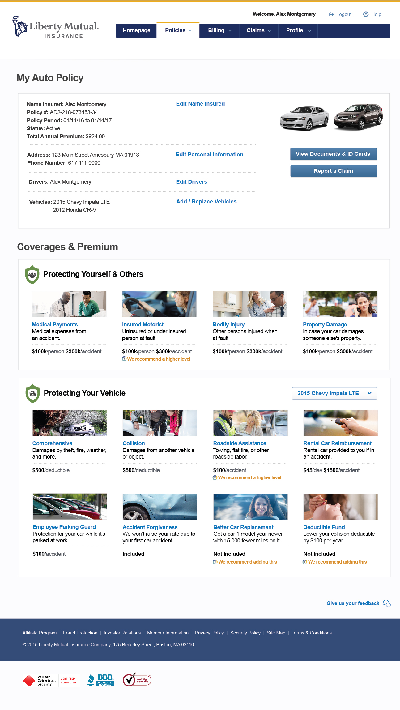 Post Usability - Policy page provides overview information and categorized coverages and recommendations.