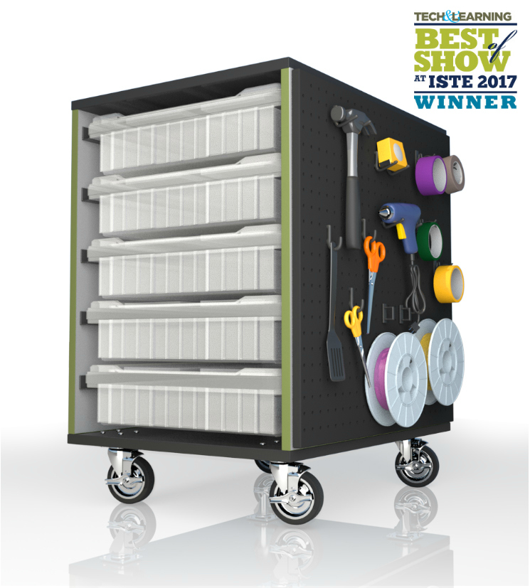 The Stewart Storage Cart - Designed by kids, built by us! The award winning Stewart Storage Cart was designed by three students who attend an after school maker club. The cart is named after their school, Stewart Middle Magnet School in Tampa, FL., and is a perfect addition to a makerspace, art class, or any classroom. It boasts 10 customizable storage bins and a peg board side, coupled with mobility and a compact design, this award winning Stewart Storage cart is a must have for any classroom!Watch their story below!