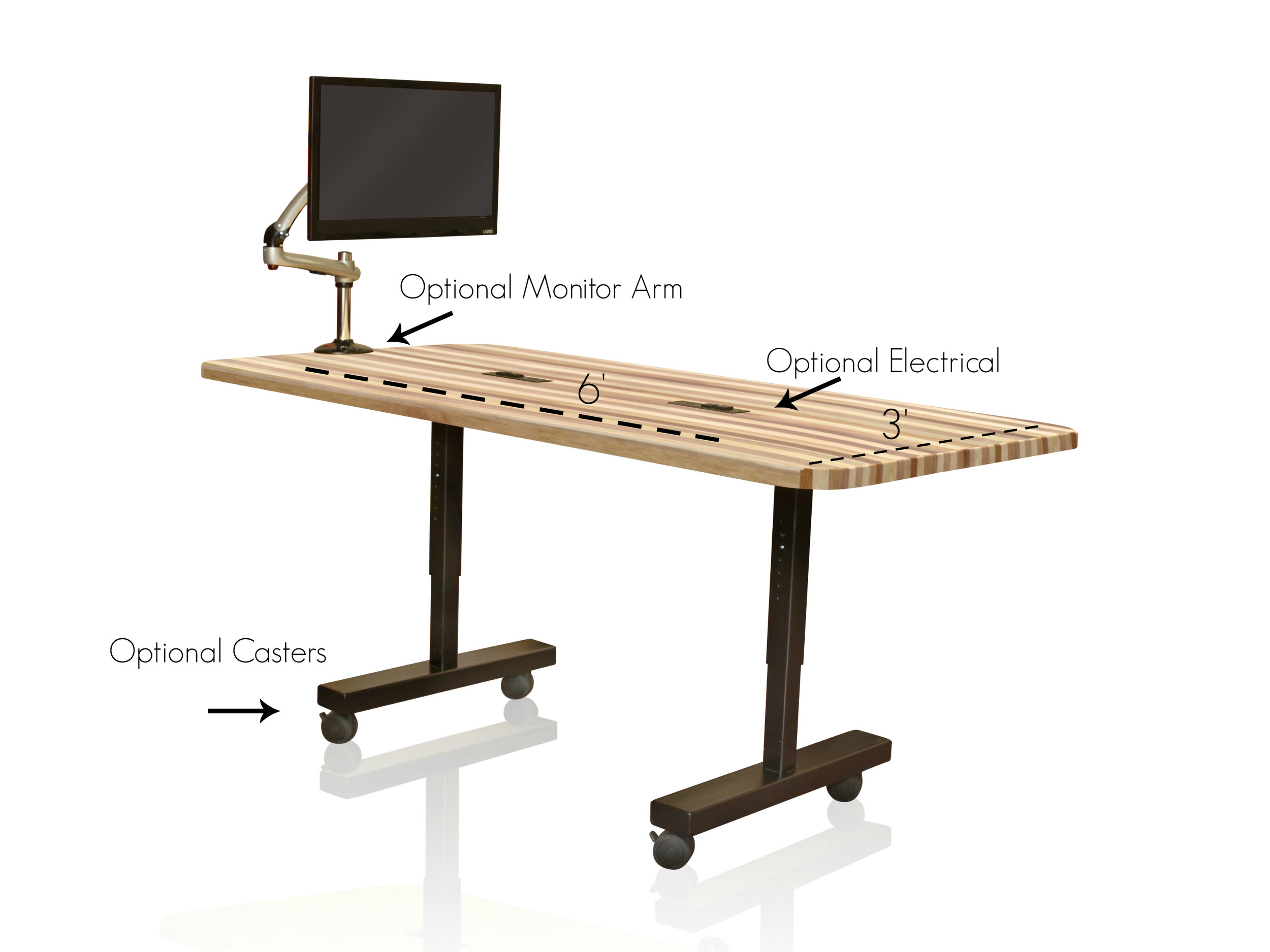 The Butcher Block Table - Our Butcher Block Table for makerspace environments allows students to design and build creative projects and empowers students to work together. By offering a hardy work surface, adjustable height legs for sitting or standing, optional power unit and monitor arm, the sky's the limit! Foster a creative environment and see where your students will go!