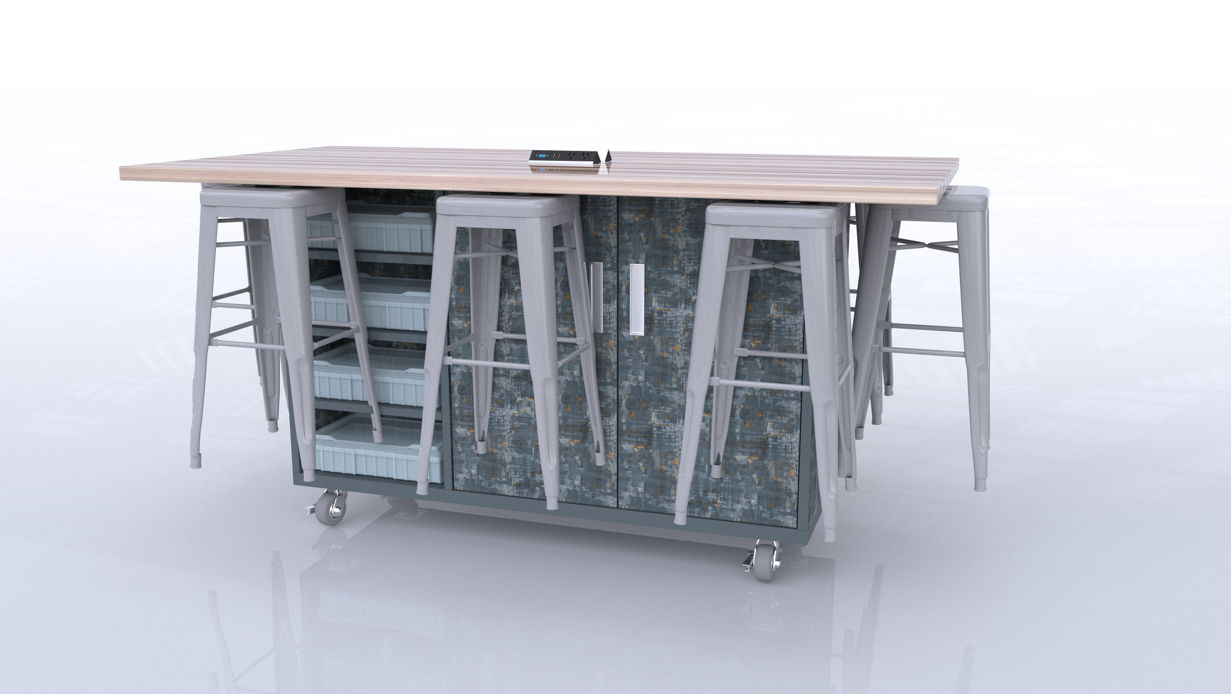 The Ed8 by CEF Scraped Steel Finish and Silver Stools.jpg