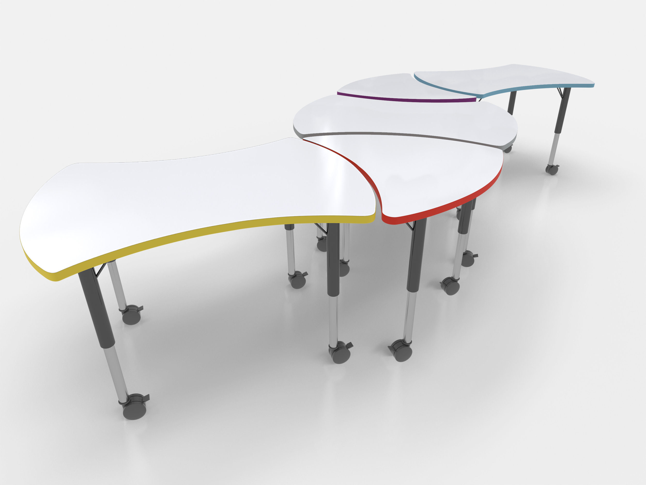 Nesting Tables - The CEF dry erase nesting tables with adjustable height legs are genius just like your students! Allowing students the freedom to write, draw or solve problems on a dry erase surface cultivates creativity and encourages students to become more confident in their work. For teachers, the fun and easy part of these modular nesting tables is to create shapes or groups in your classroom that fit your teaching style. So have fun, and teach well!