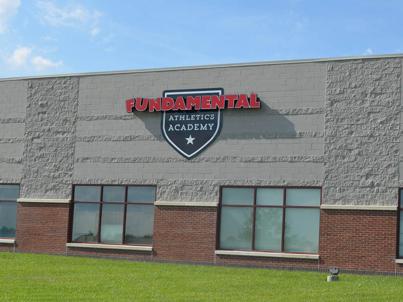 Exterior signage for Fundamental Athletics Academy, Lincoln, Nebraska
