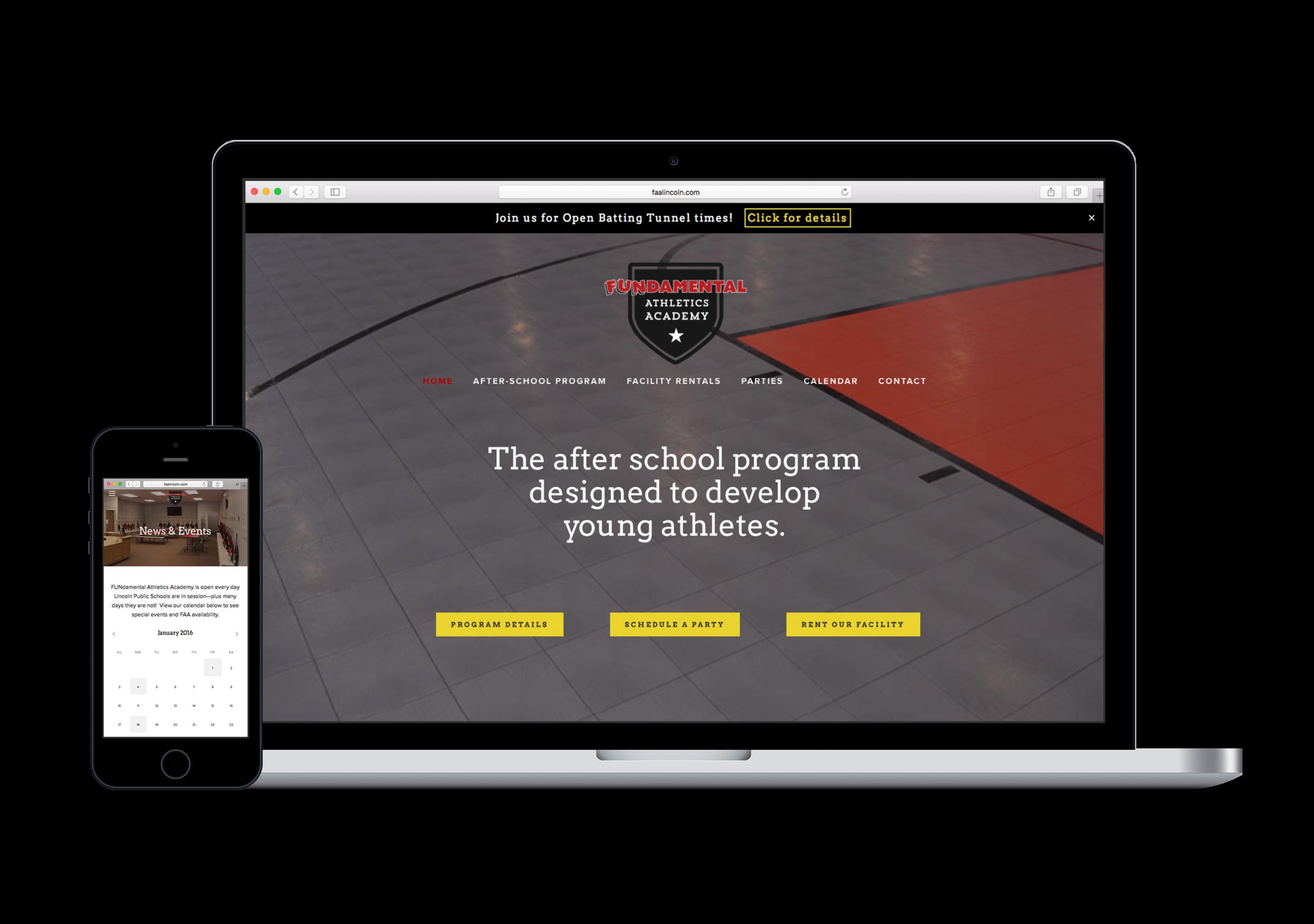 fitness center website design | FUNdamental Athletics Academy
