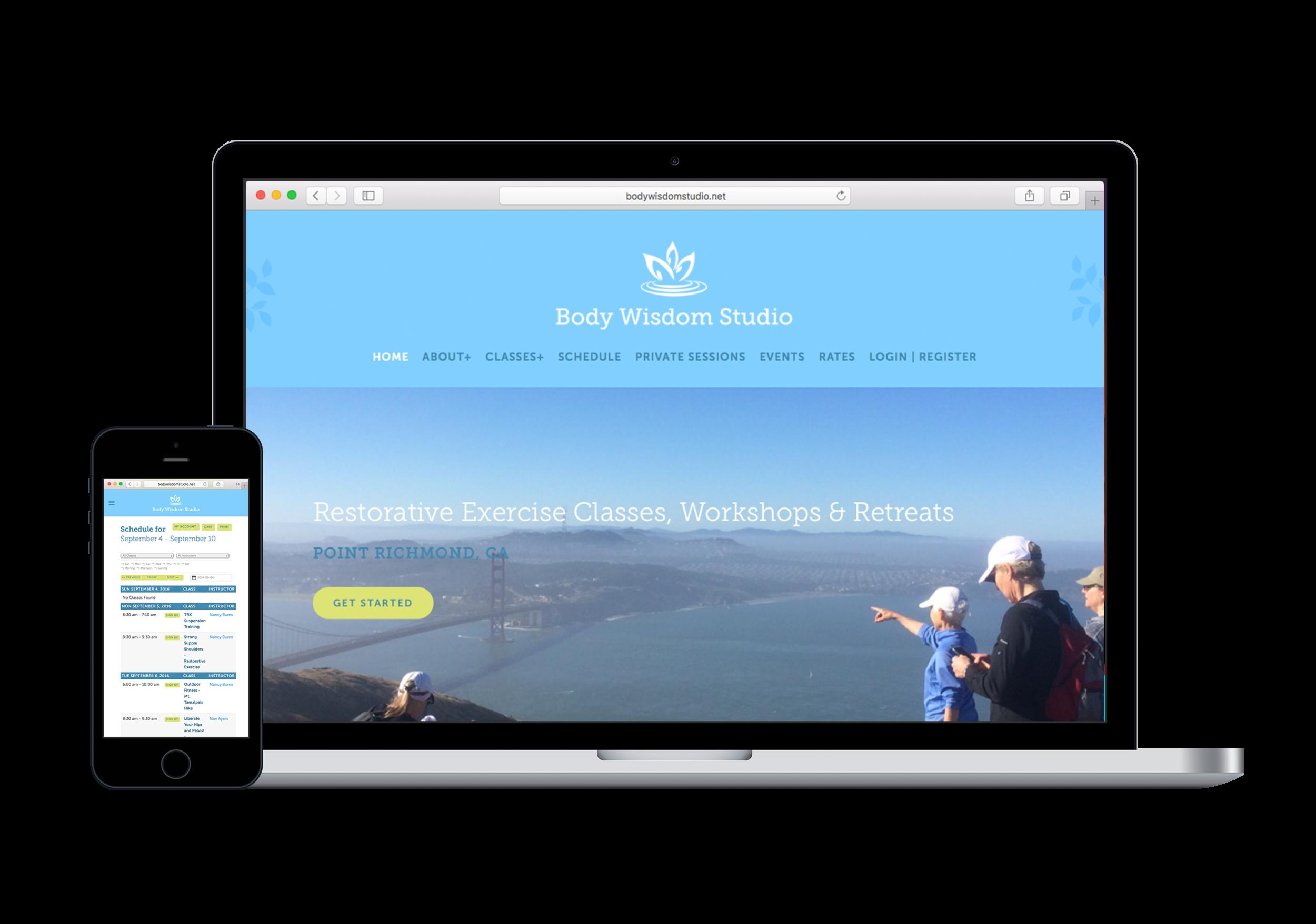 Fitness studio website design