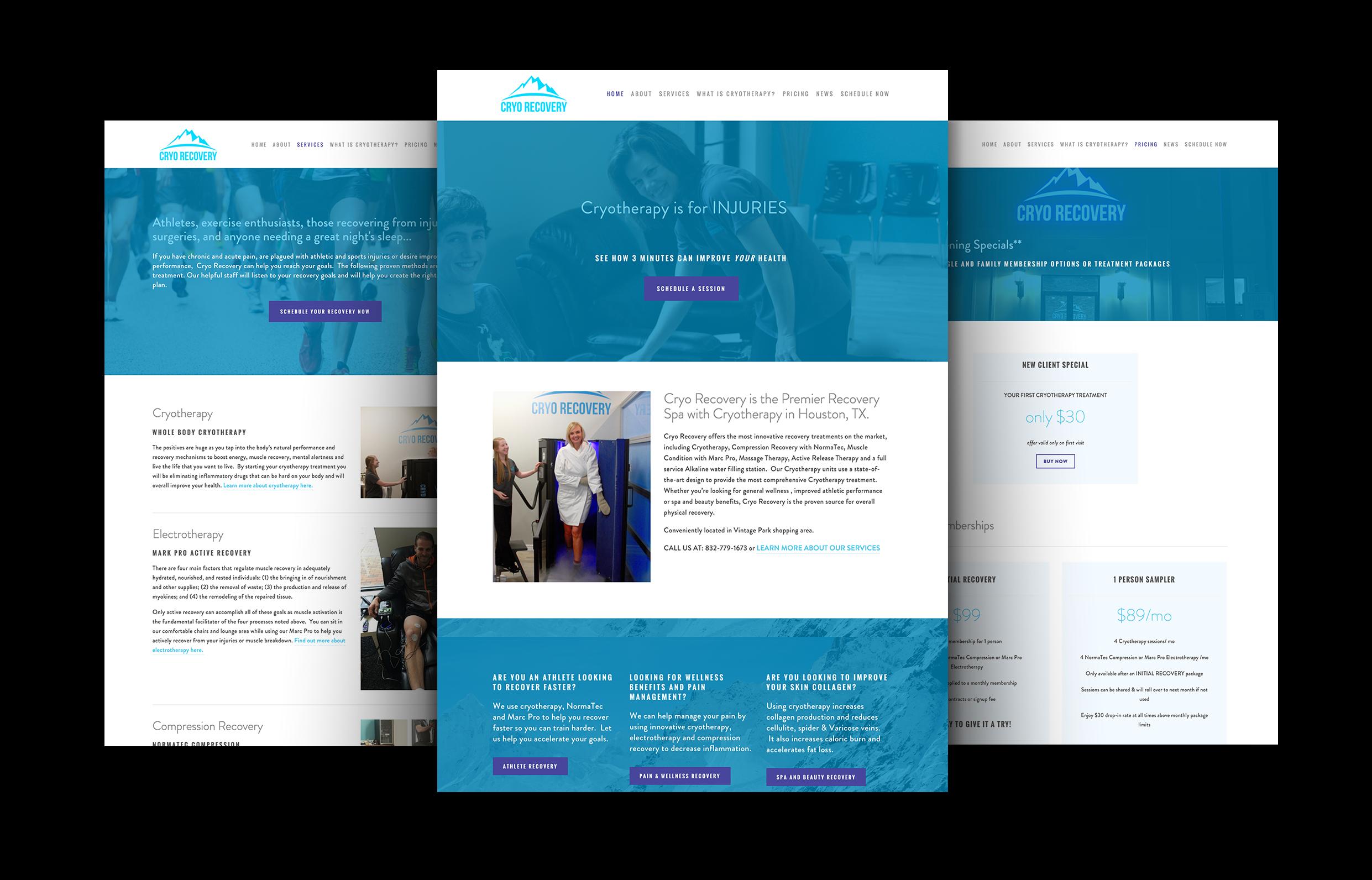 wellness spa website design | Cryo Recovery website